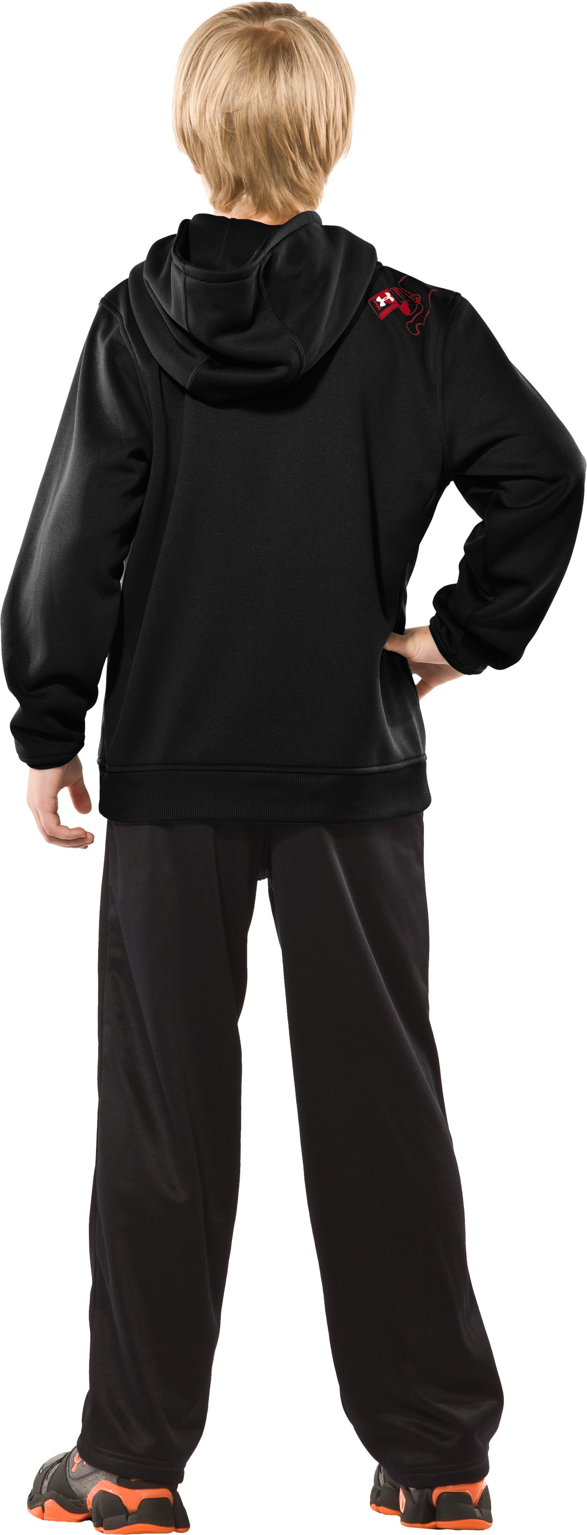 Boys' Armour® Fleece Verbiage Pullover Hoodie, Black , Back