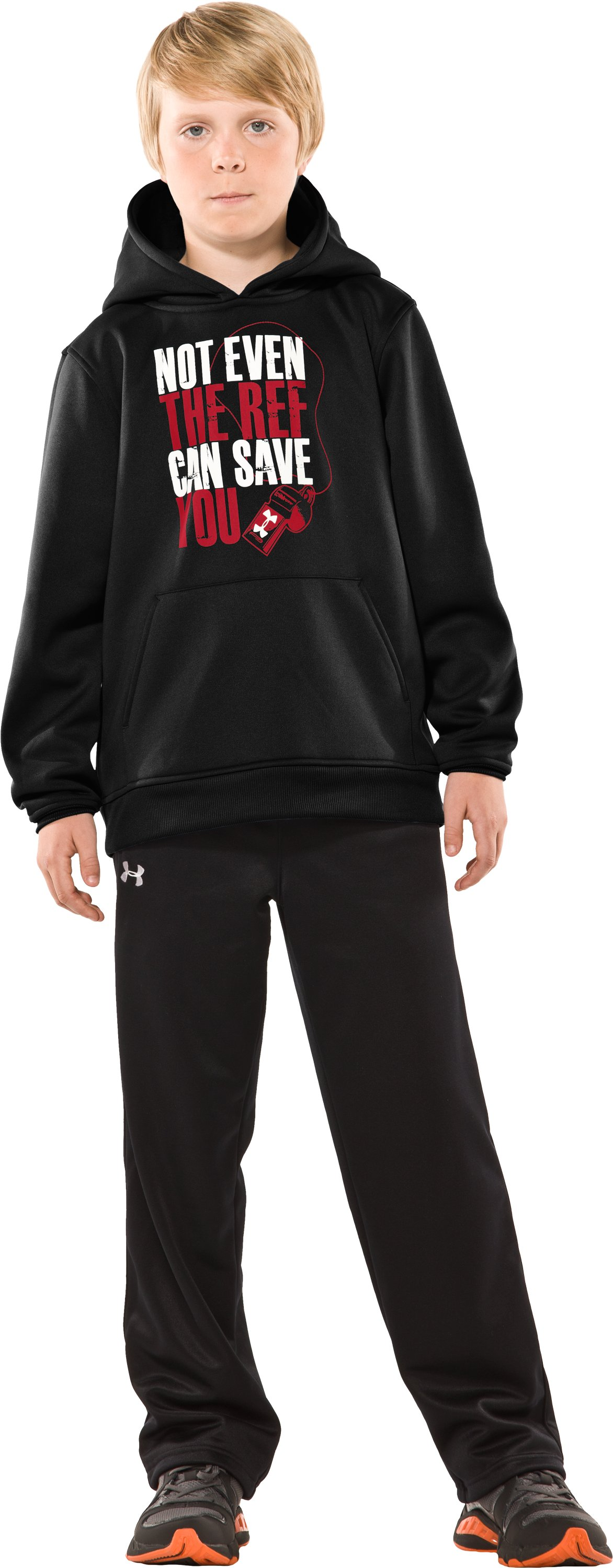 Boys' Armour® Fleece Verbiage Pullover Hoodie, Black , zoomed image