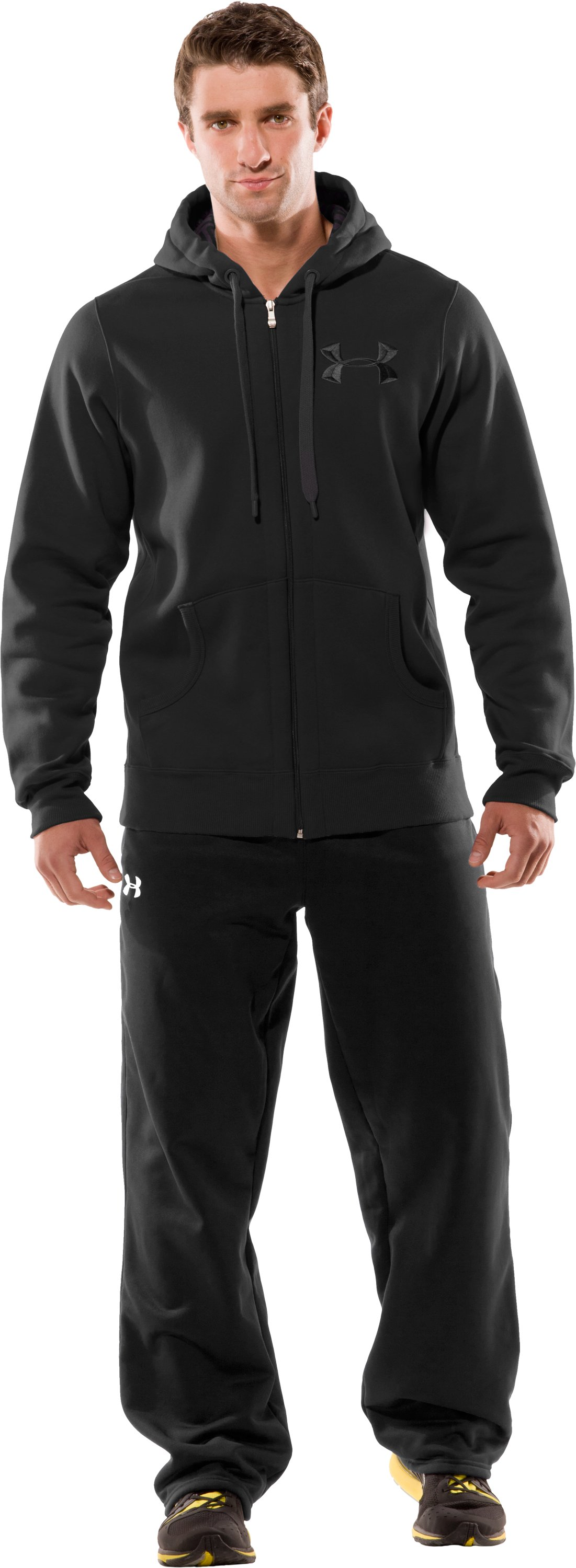 Men's UA Charged Cotton® Storm Full Zip Hoodie, Black , Front