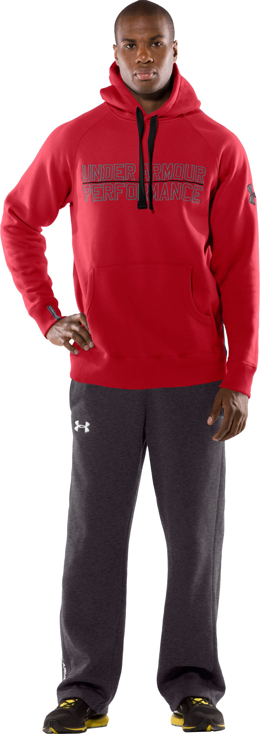 Men's UA Charged Cotton® Storm Fleece Performance Hoodie, Red, Front
