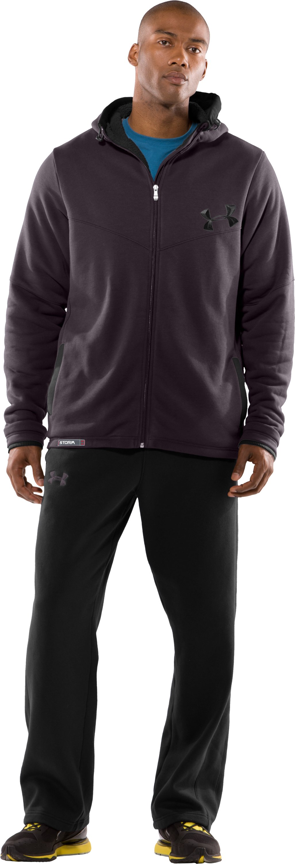 Men's UA Charged Cotton® Storm Sherpa Fleece Full Zip Hoodie, Charcoal, Front