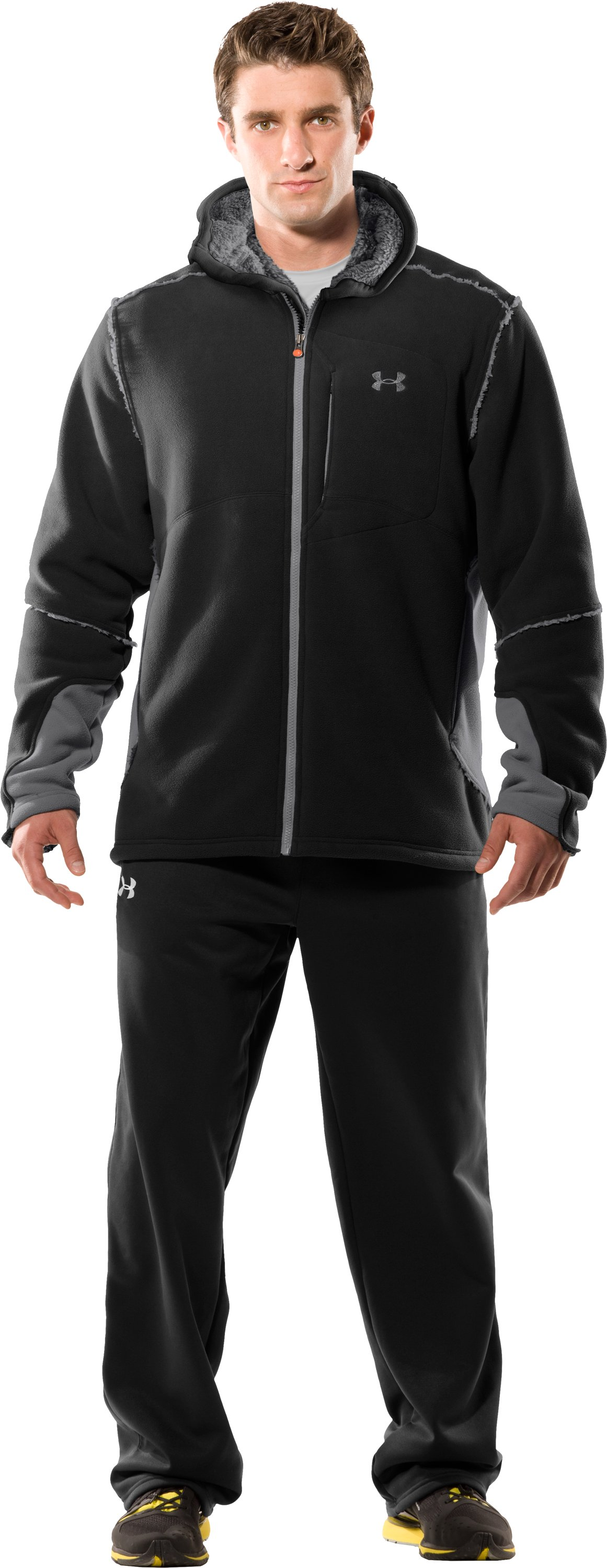 Men's UA Hundo® 3.0 Full Zip Hoodie, Black , zoomed image