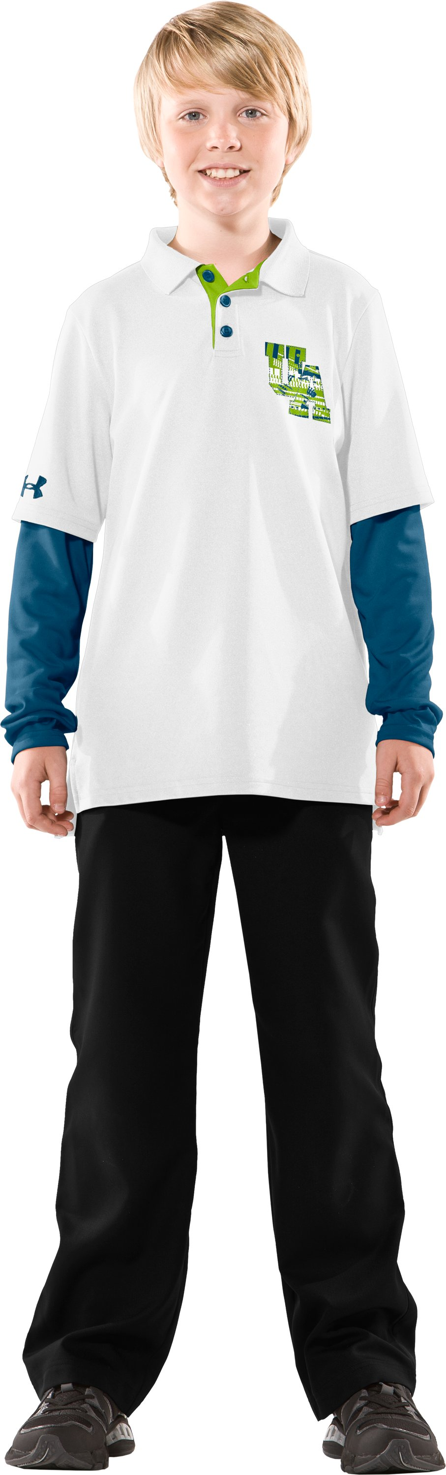 Boys' Drive Layered Long Sleeve Polo, White, Front