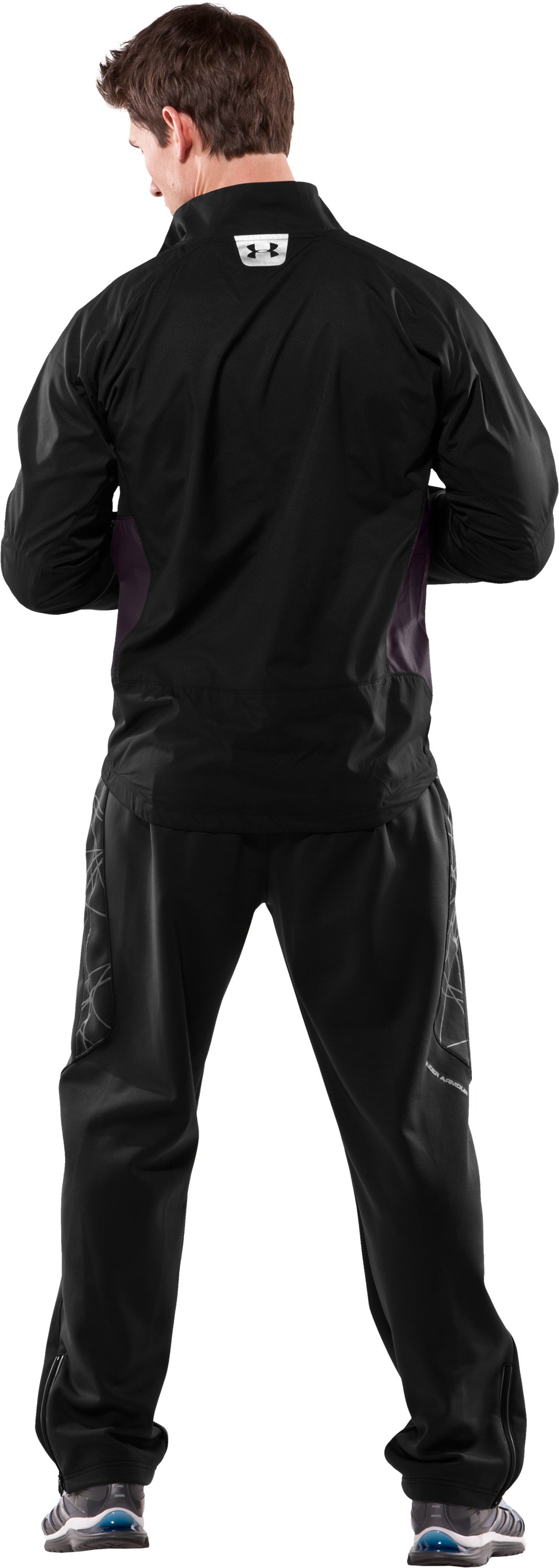 Men's Escape Wind & Water Running Jacket, Black , Back