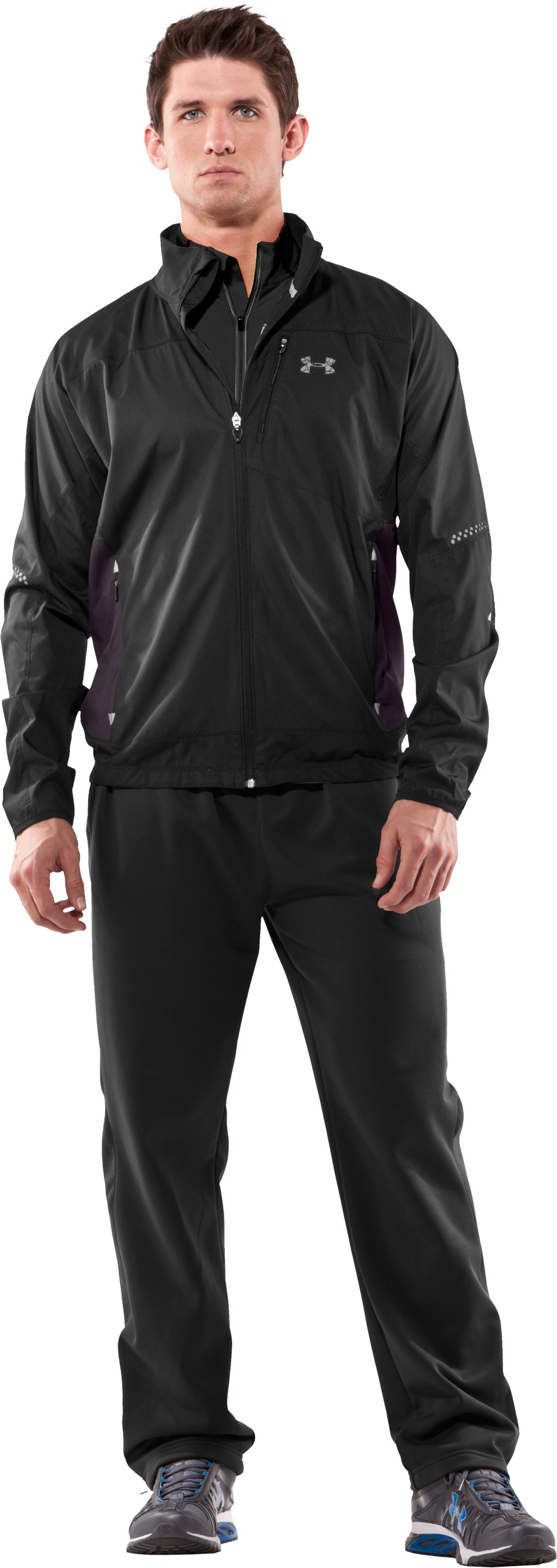 Men's Escape Wind & Water Running Jacket, Black , Front