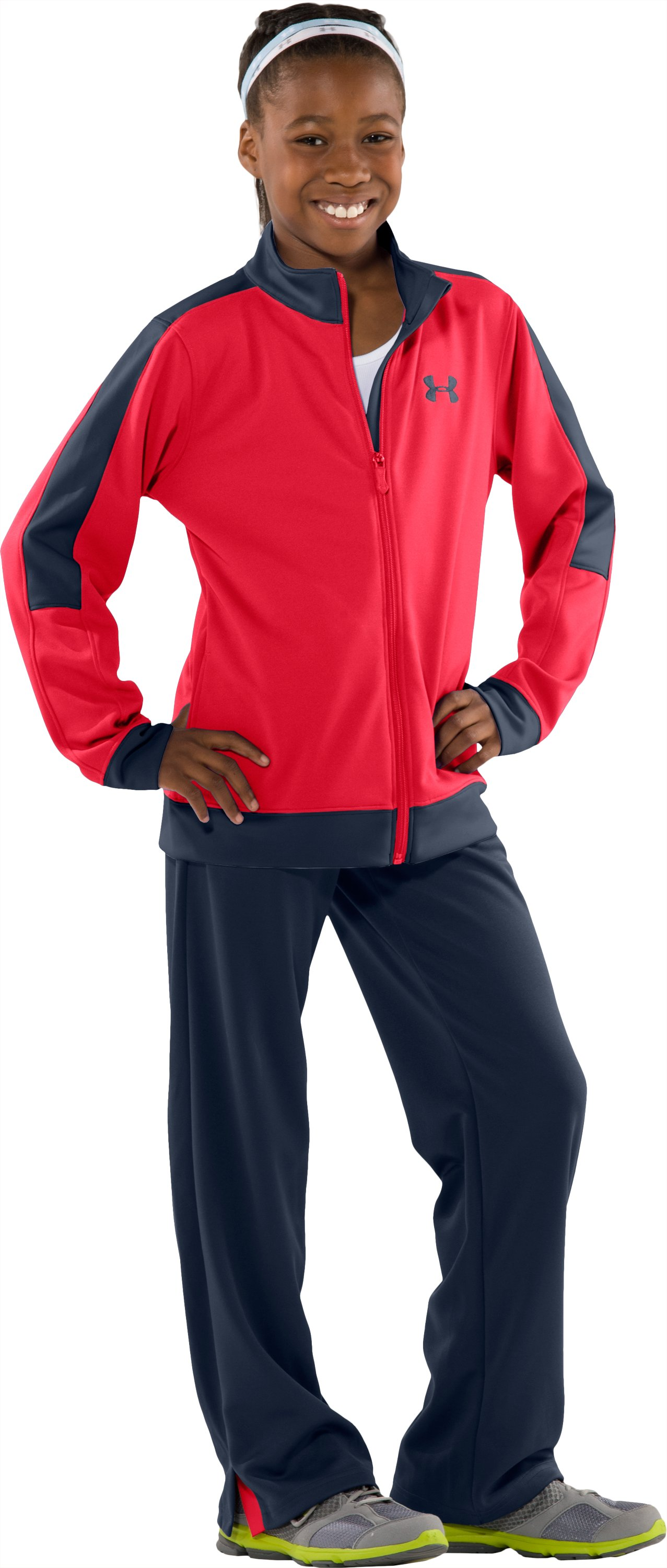 Girls' Challenge Knit Jacket, Power, Front