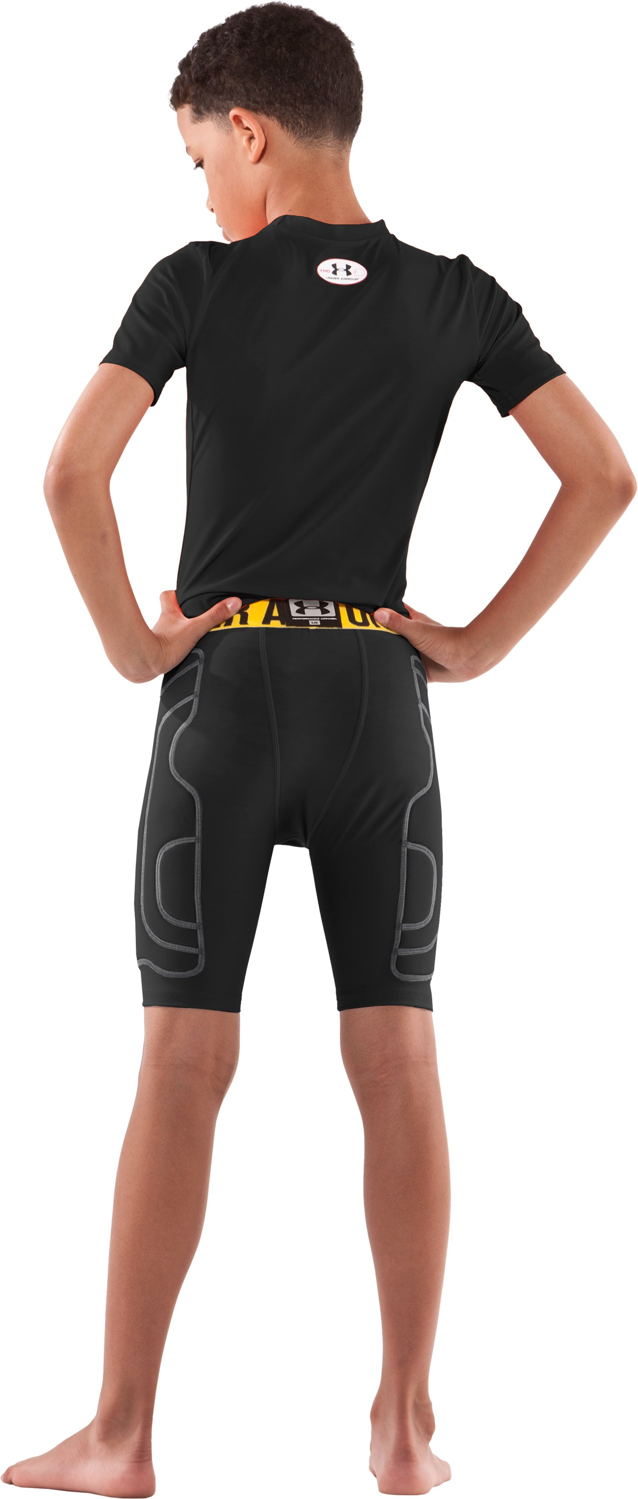 Boys' Break III Compression Slider Shorts, Black , Back