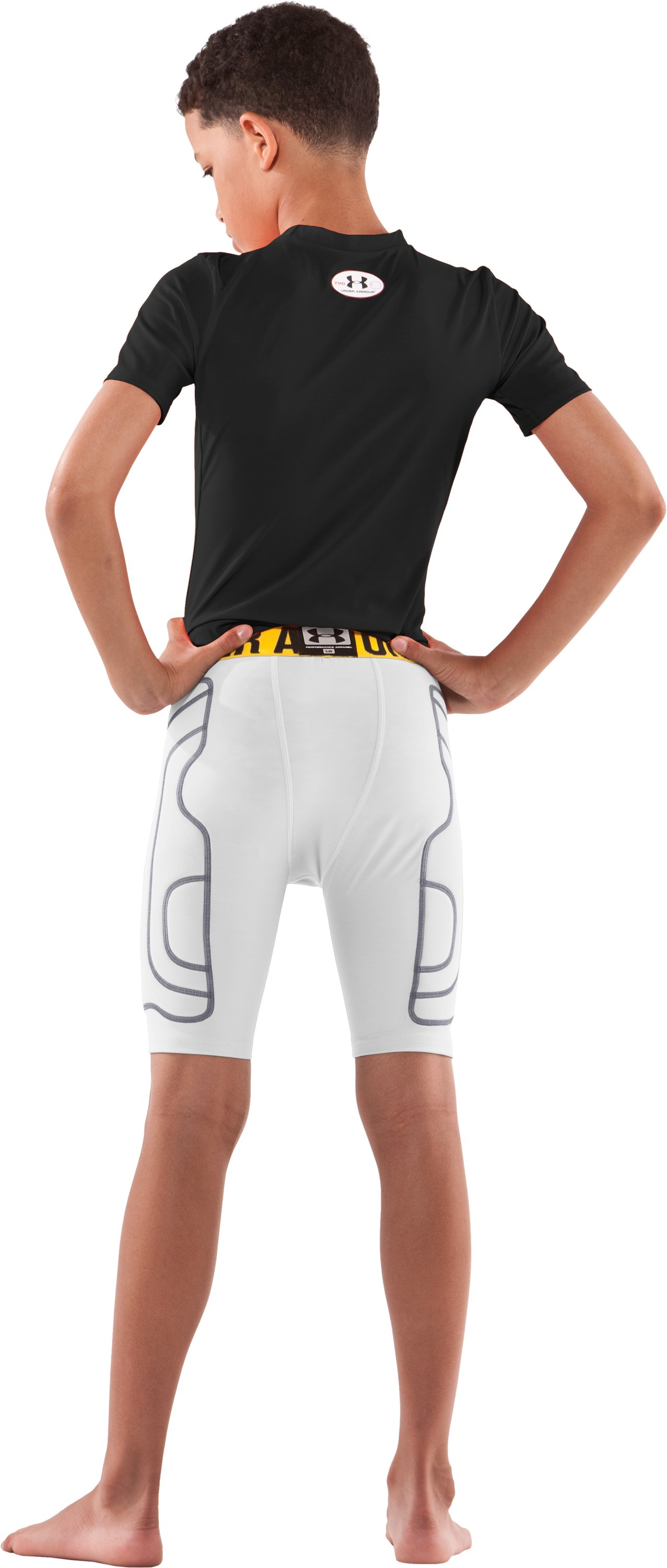 Boys' Break III Compression Slider Shorts, White, Back