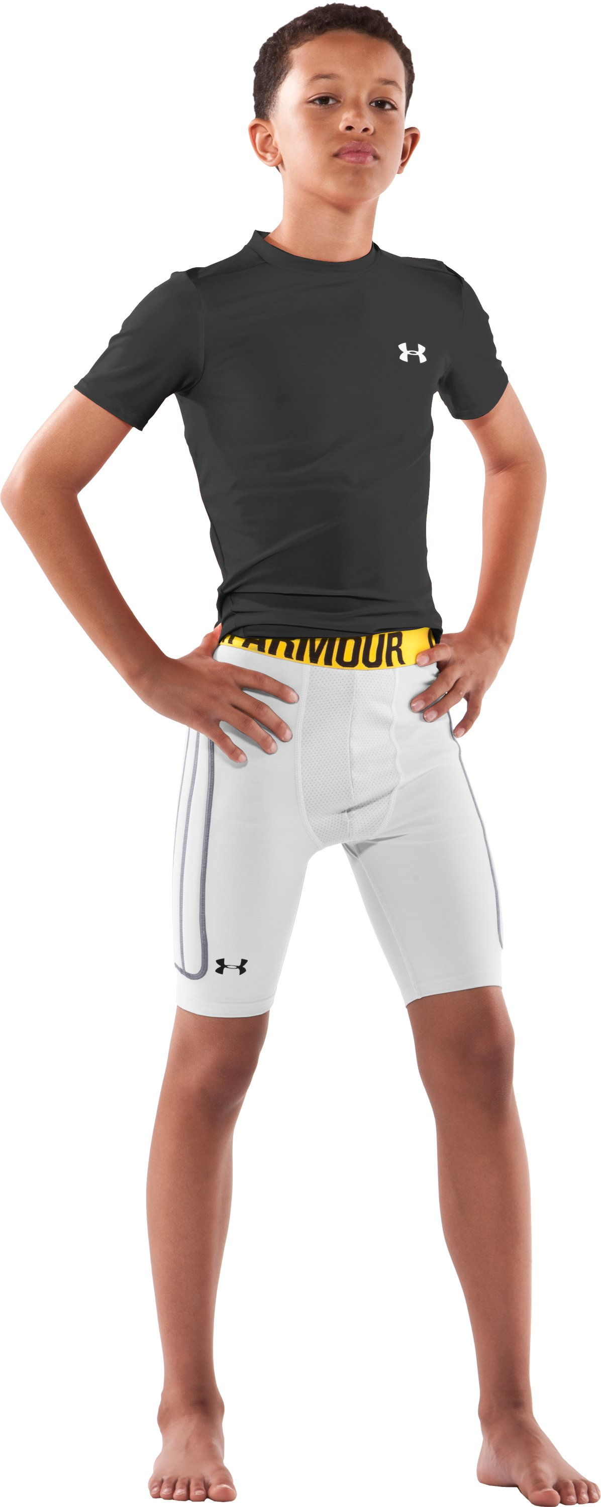 Boys' Break III Compression Slider Shorts, White, zoomed image