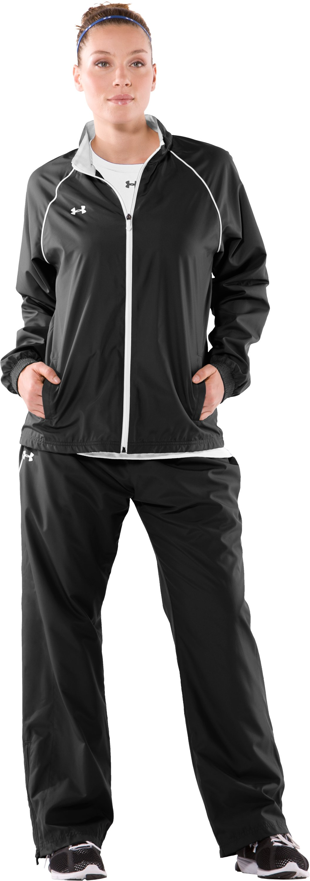 Women's Advance Woven Warm-Up Jacket, Black , Front