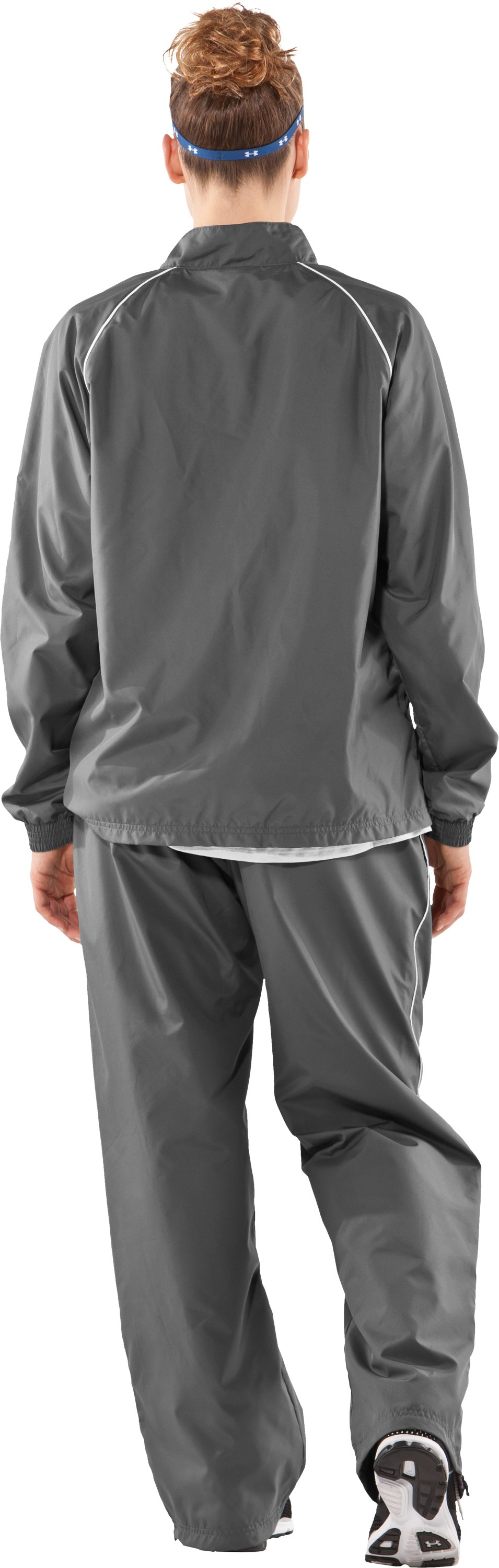 Women's Advance Woven Warm-Up Jacket, Graphite, Back