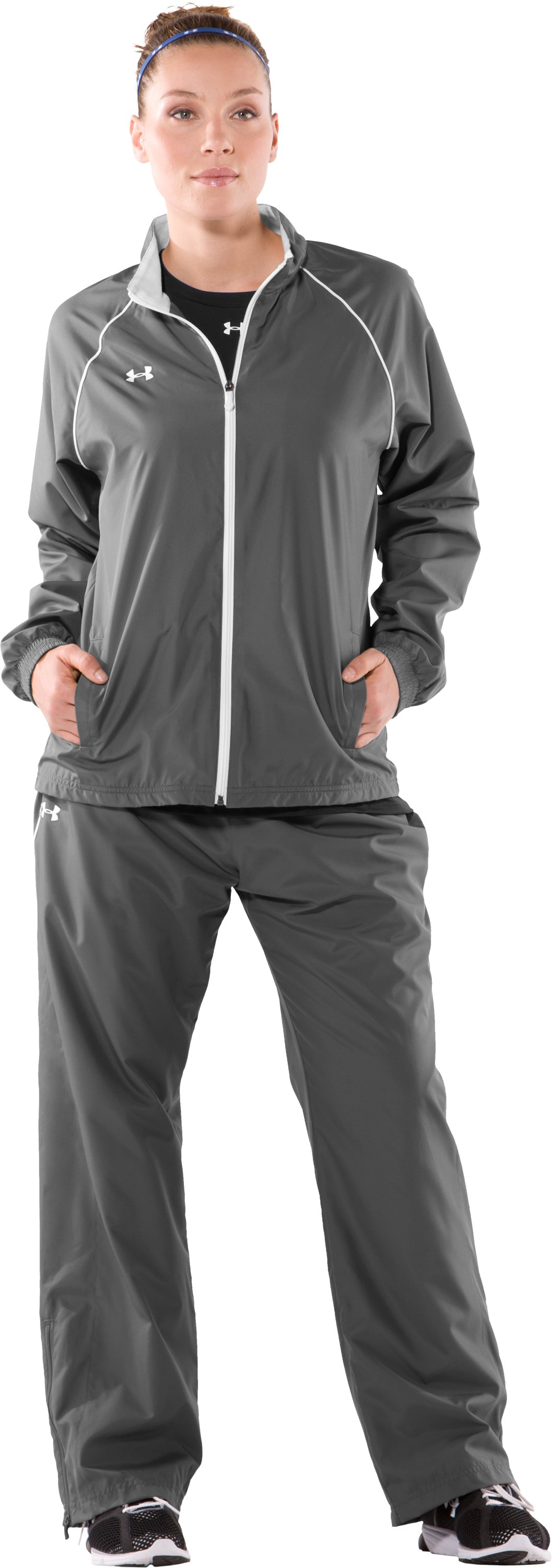 Women's Advance Woven Warm-Up Jacket, Graphite, Front