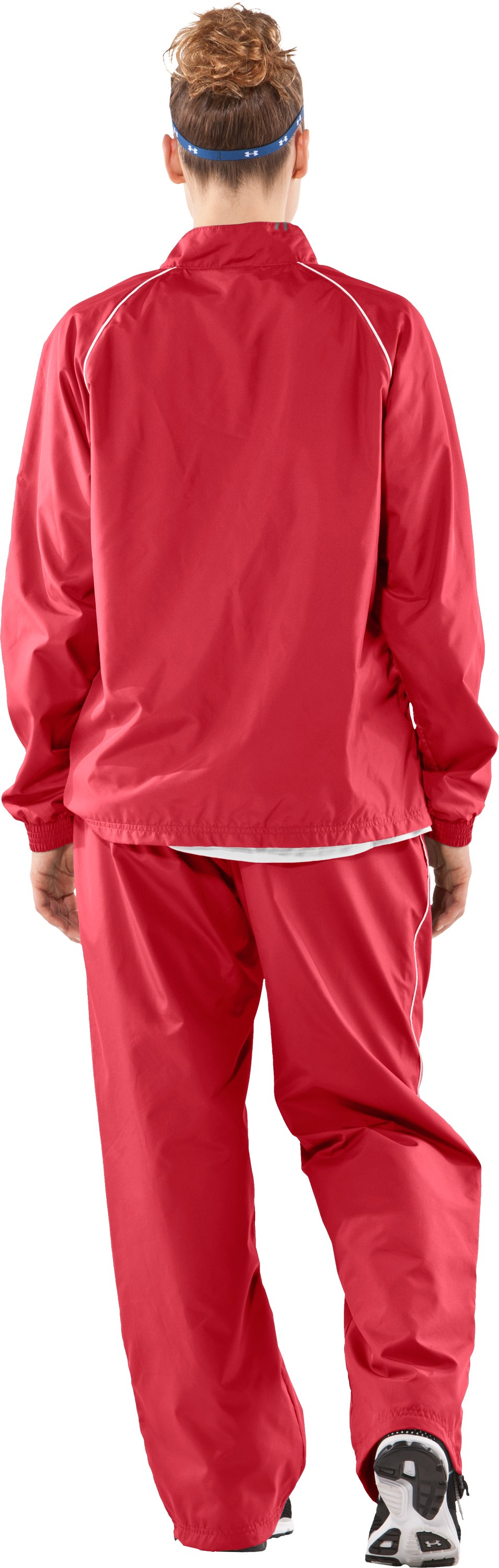 Women's Advance Woven Warm-Up Jacket, Red, Back