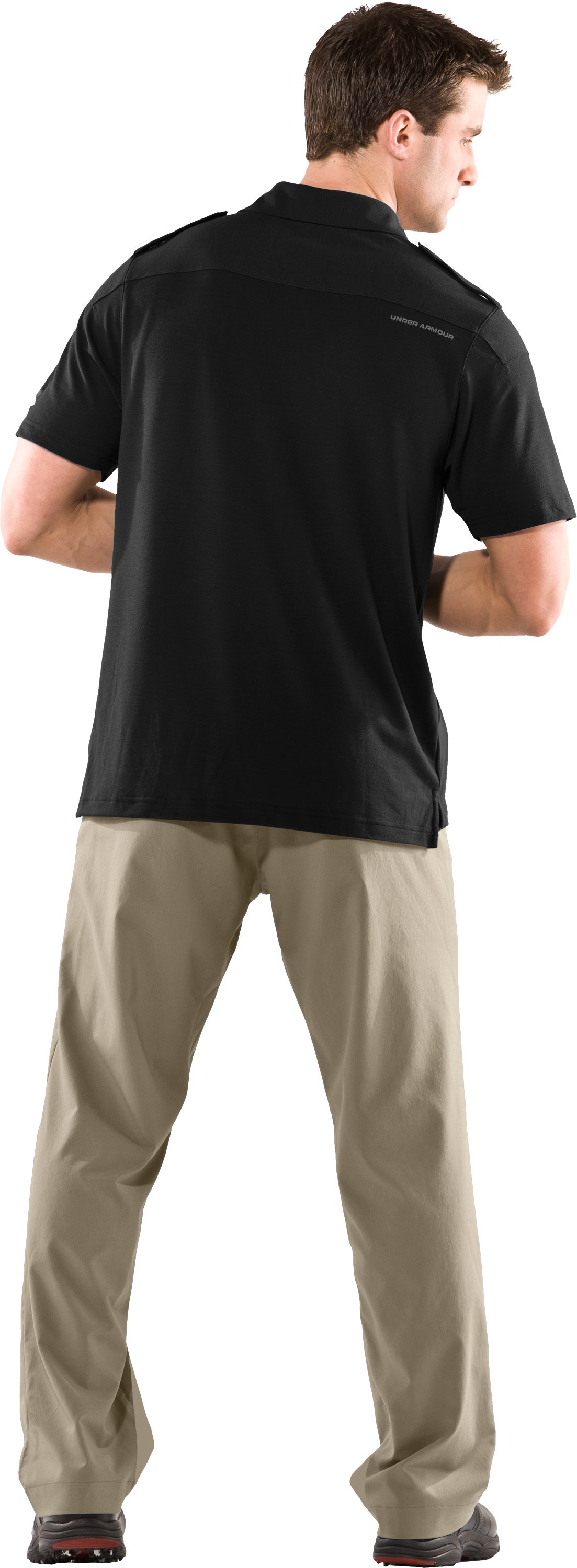 Men's UA Golf Military Polo, Black , Back