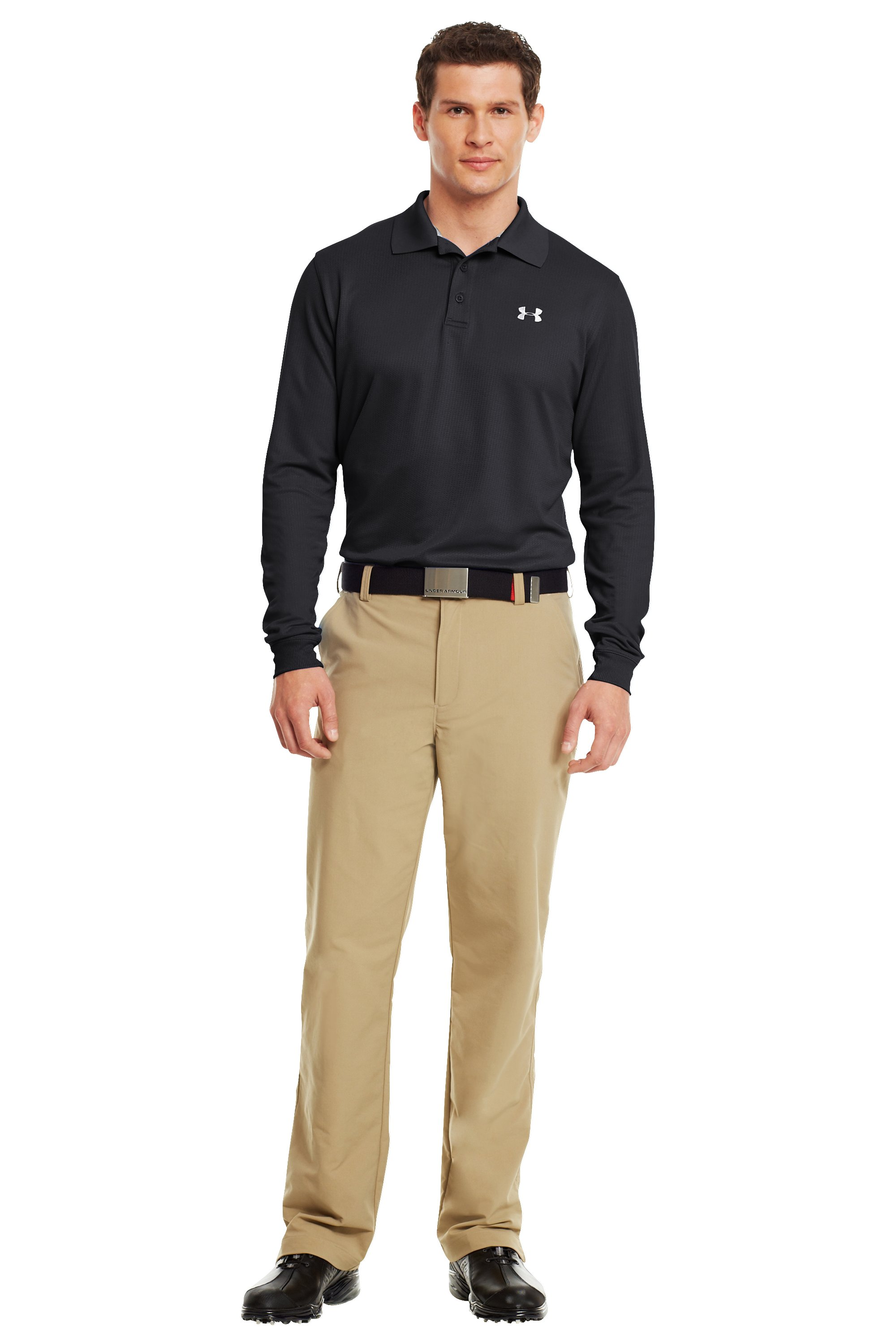 Men's UA Performance Long Sleeve Polo, Black , Front