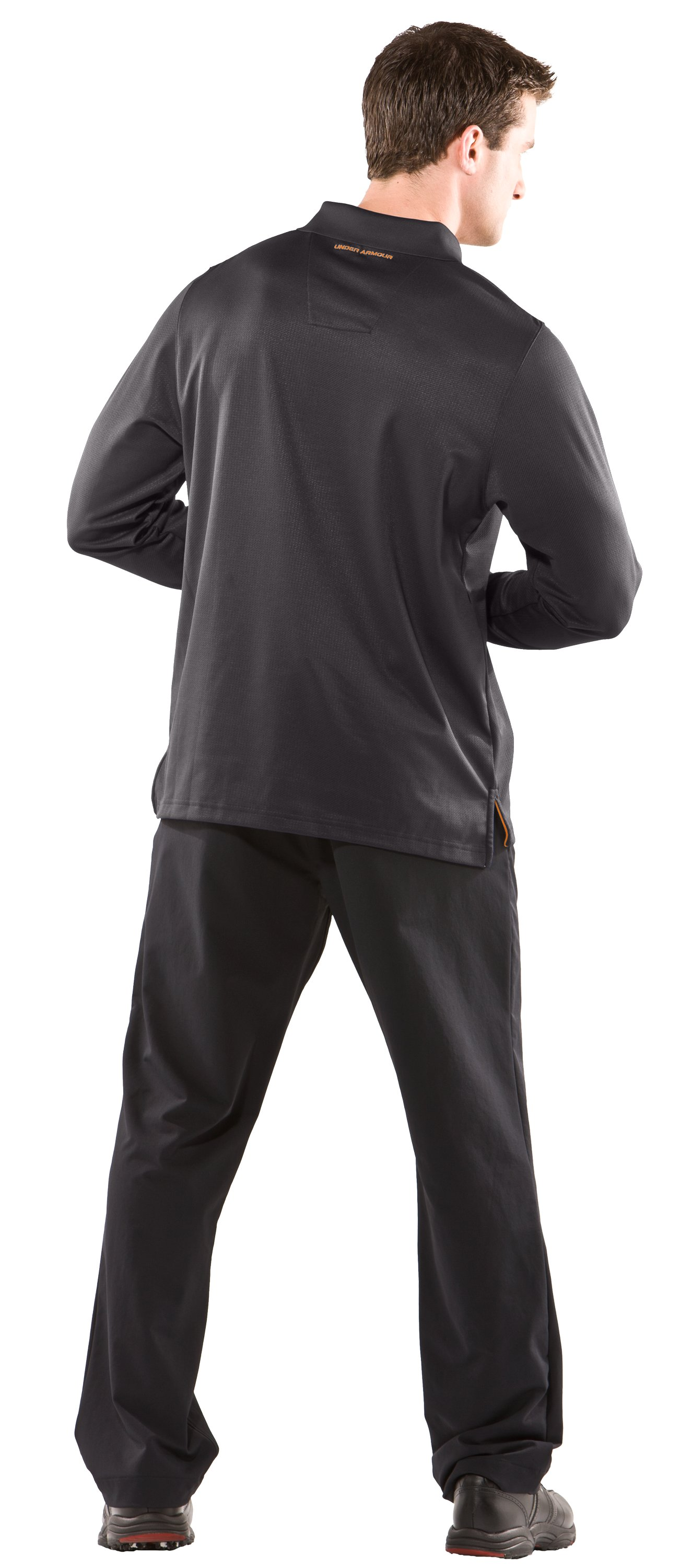 Men's UA Performance Long Sleeve Polo, Charcoal, Back
