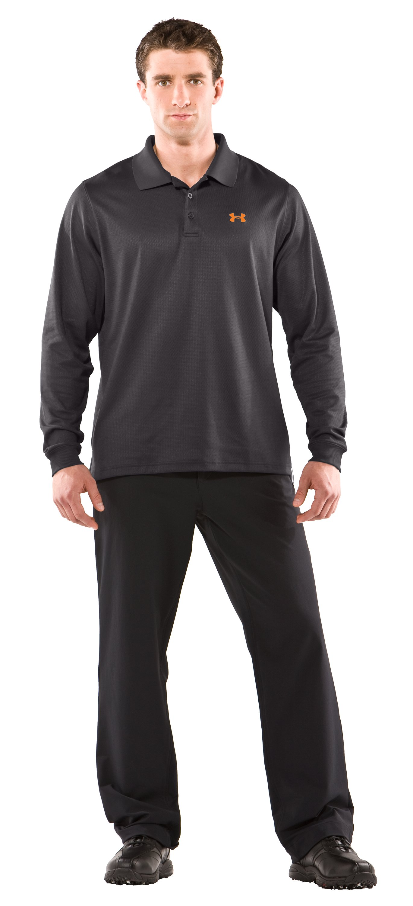 Men's UA Performance Long Sleeve Polo, Charcoal, Front