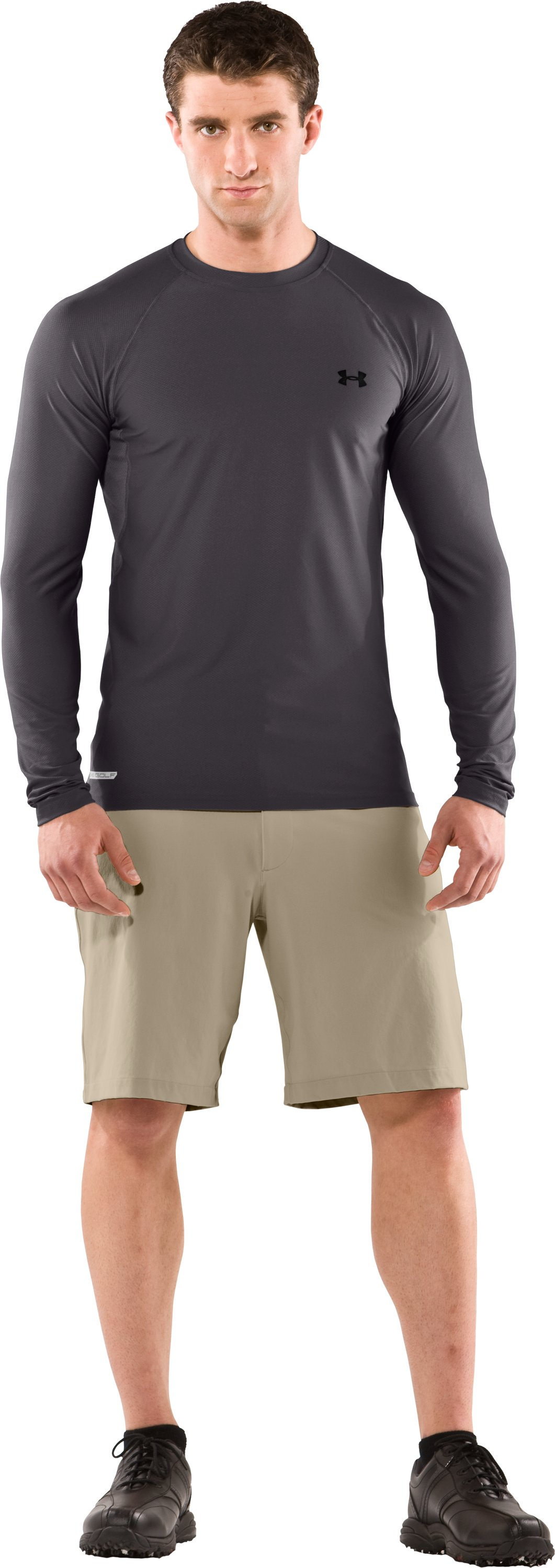 Men's HeatGear® Fitted Long Sleeve Layering Golf Shirt, Concrete, Front