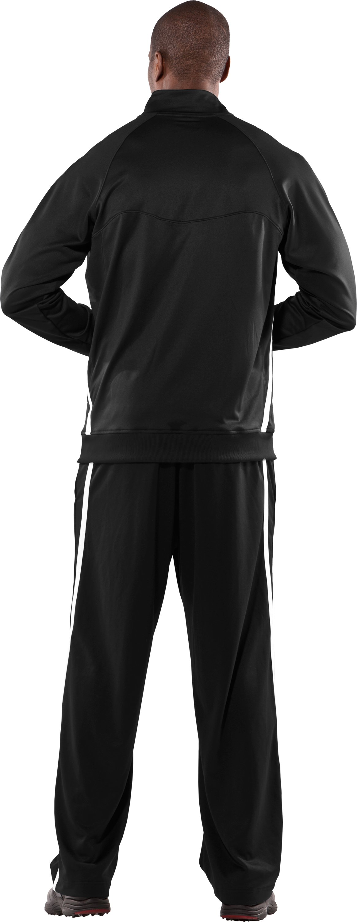 Men's Team Knit Warm-Up Jacket, Black , Back