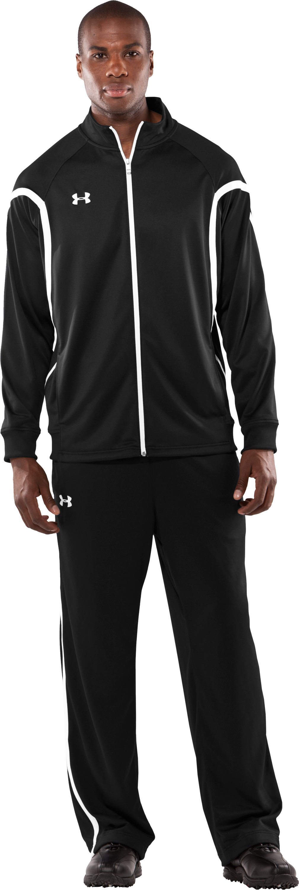 Men's Team Knit Warm-Up Jacket, Black , Front