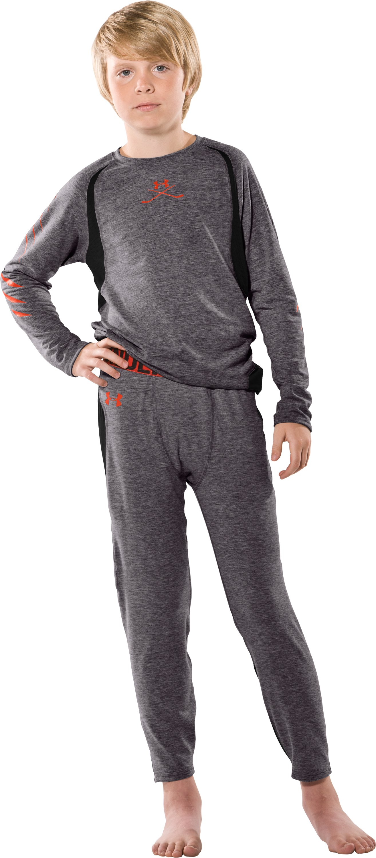 Boys' Hockey UA Tech™ Pants, Carbon Heather, Front
