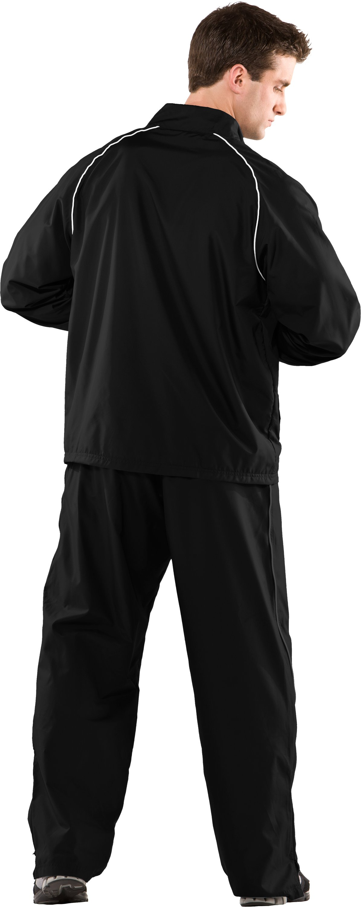 Men's UA Advance Woven Warm-Up Jacket, Black , Back