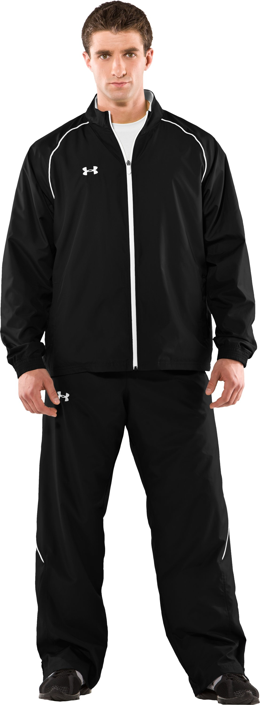 Men's UA Advance Woven Warm-Up Jacket, Black , Front