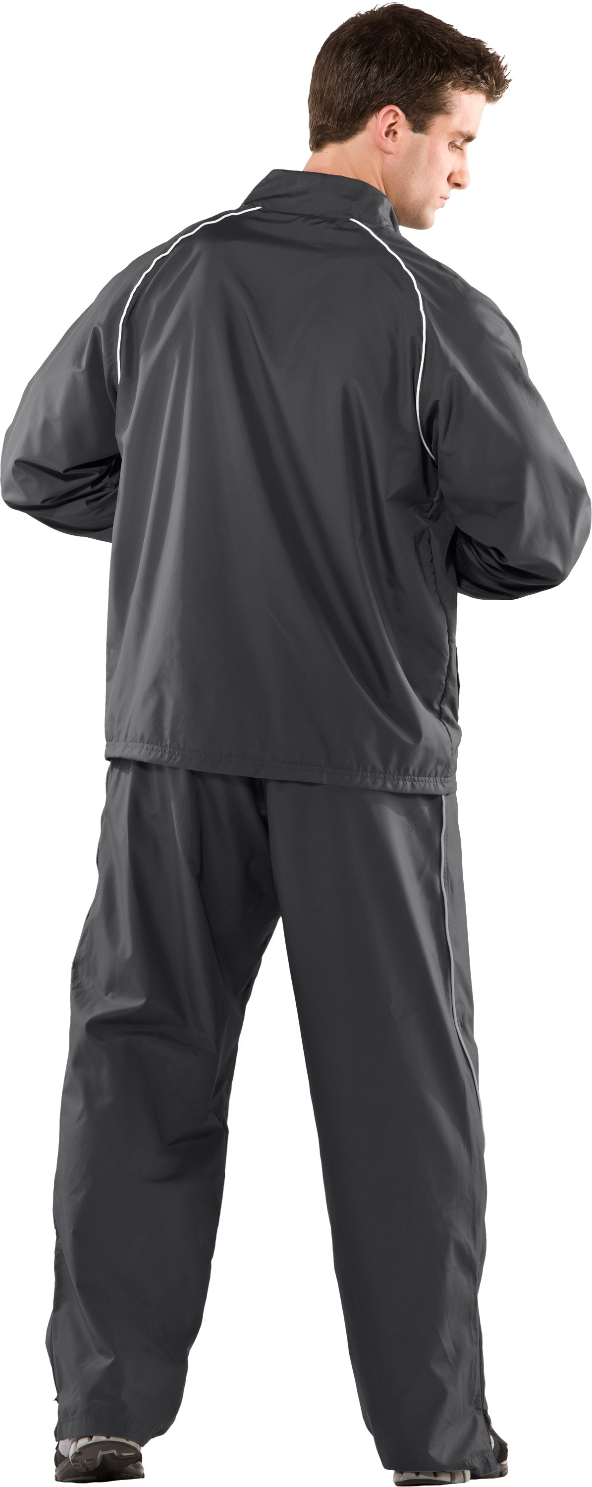 Men's UA Advance Woven Warm-Up Jacket, Graphite, Back