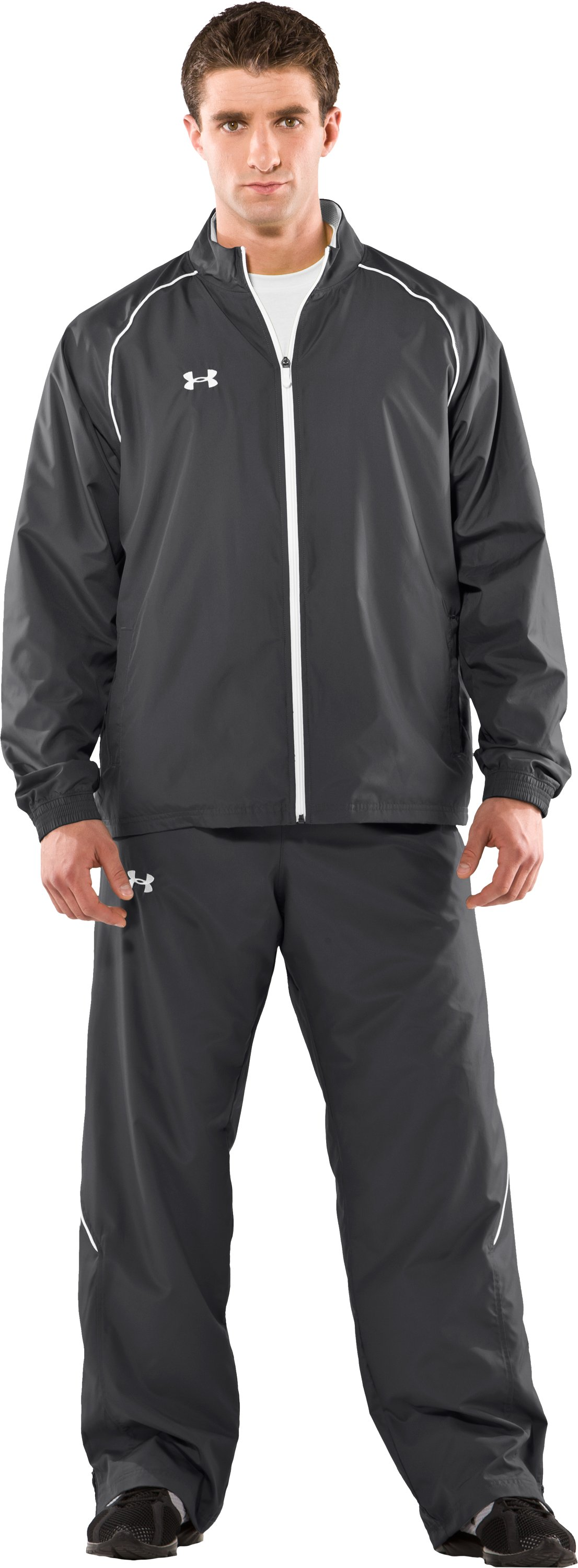 Men's UA Advance Woven Warm-Up Jacket, Graphite, zoomed image
