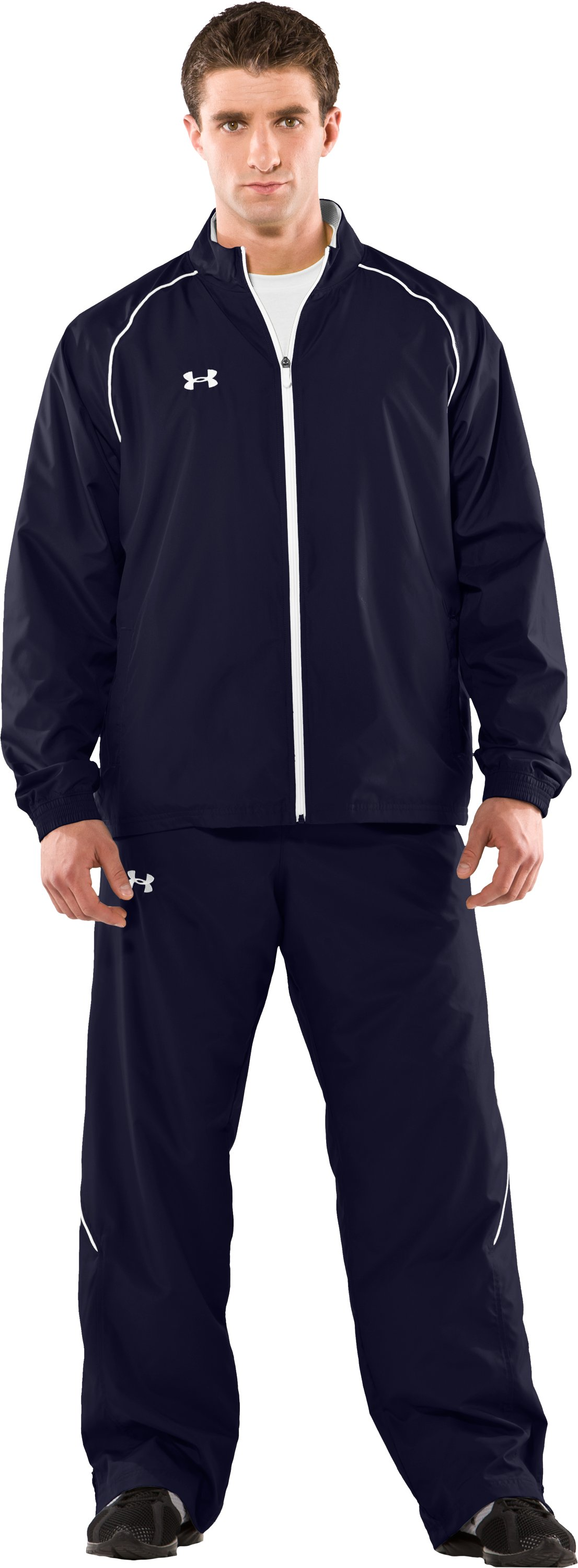 Men's UA Advance Woven Warm-Up Jacket, Midnight Navy, Front