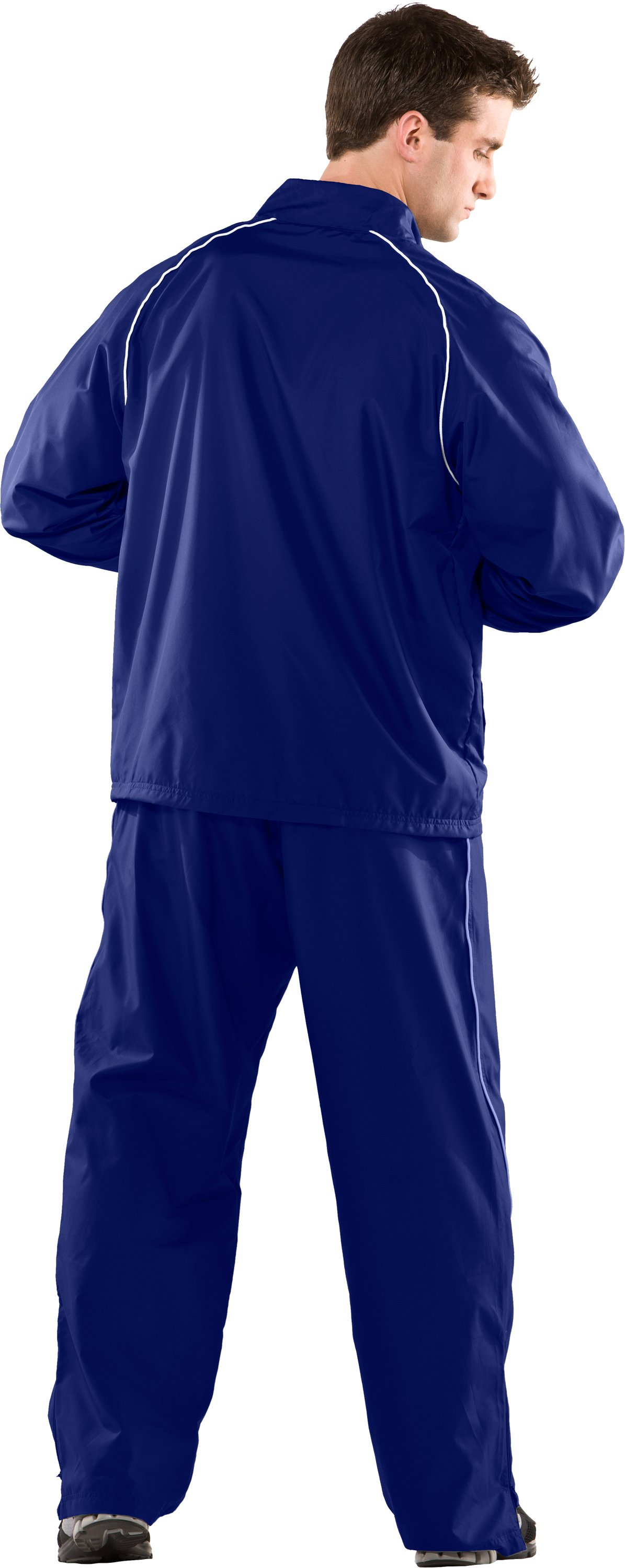 Men's UA Advance Woven Warm-Up Pants, Royal, Back