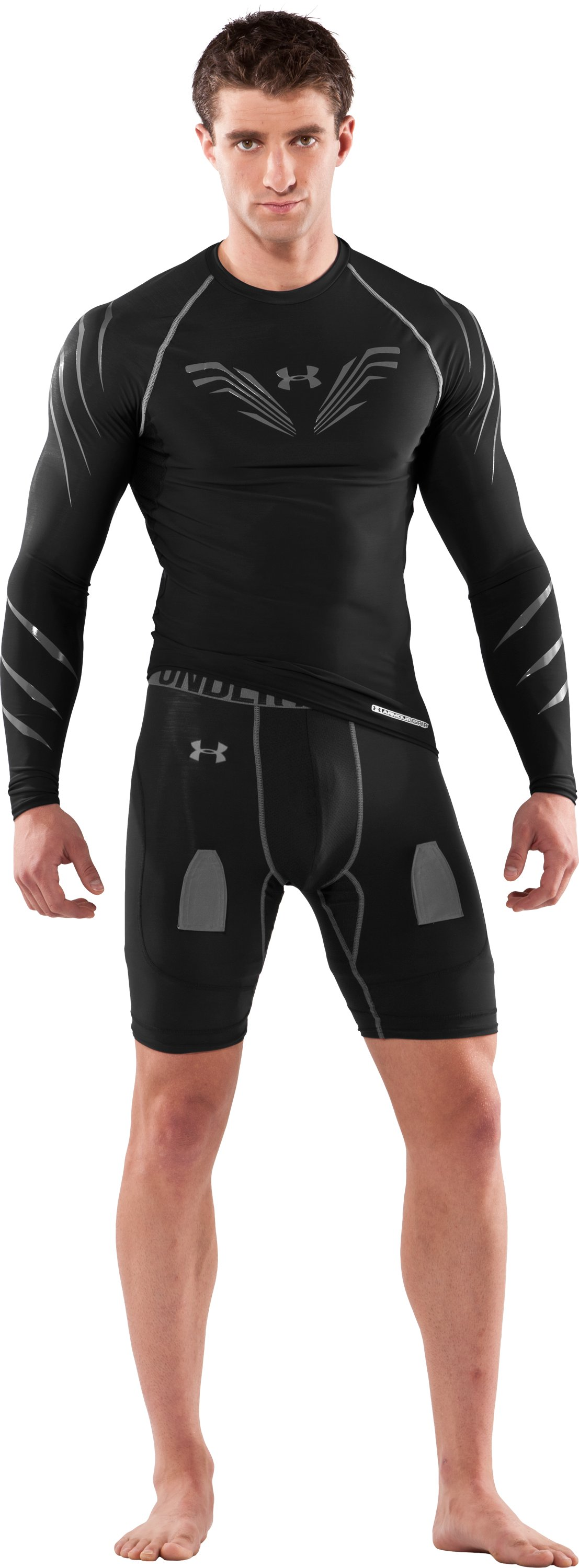 Men's Hockey Compression Shorts W/Cup, Black