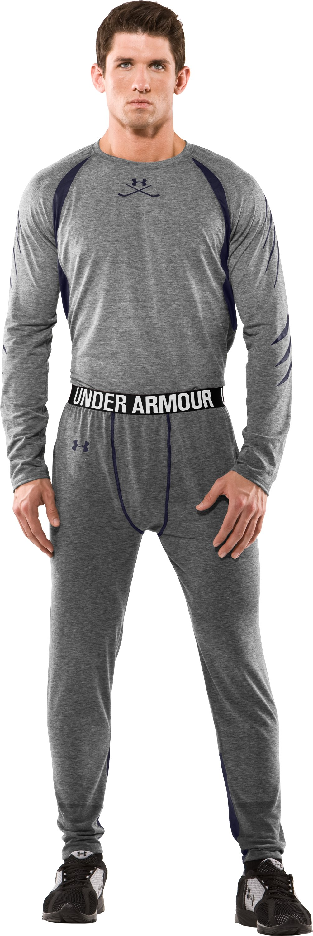 Men's Hockey UA Tech™ Pants, True Gray Heather, Front