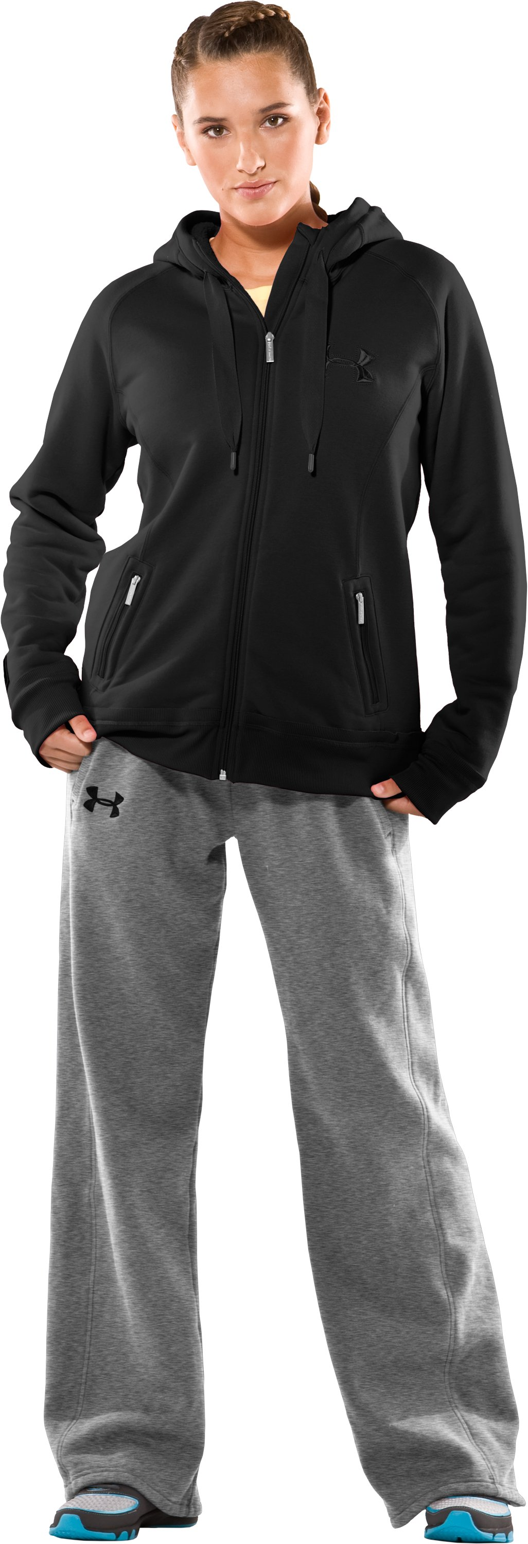 Women's UA Charged Cotton® Storm Sherpa Full Zip Hoodie, Black , Front