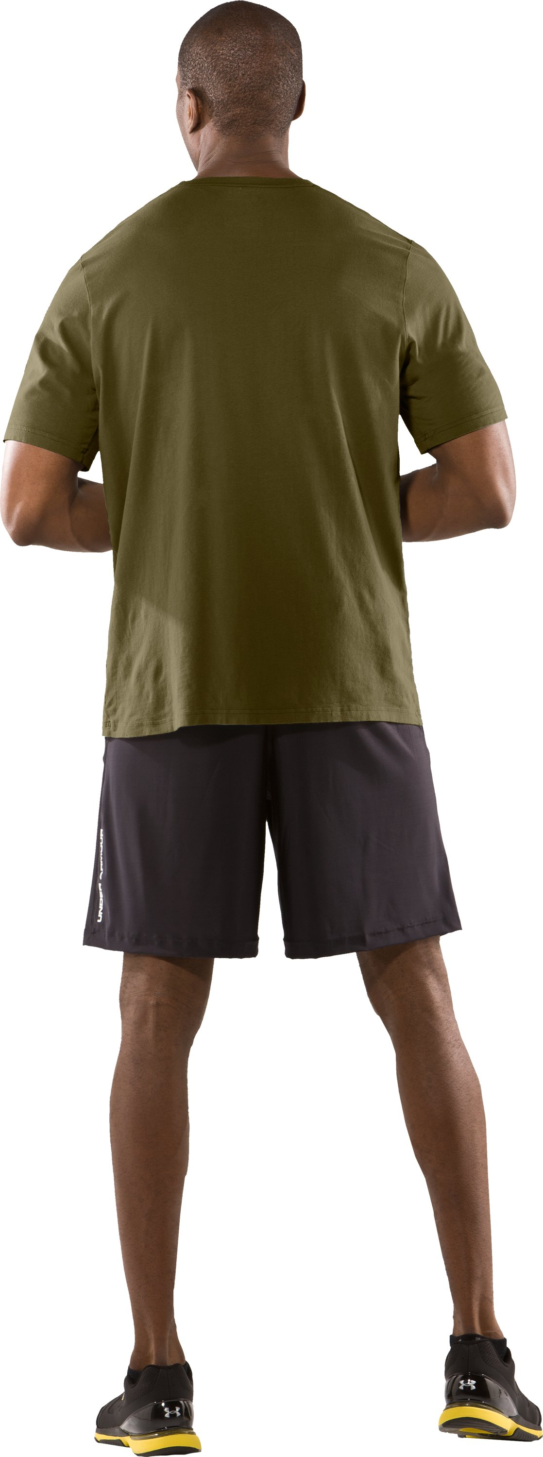 Men's UA Laser Sight Short Sleeve T-Shirt, Marine OD Green, Back