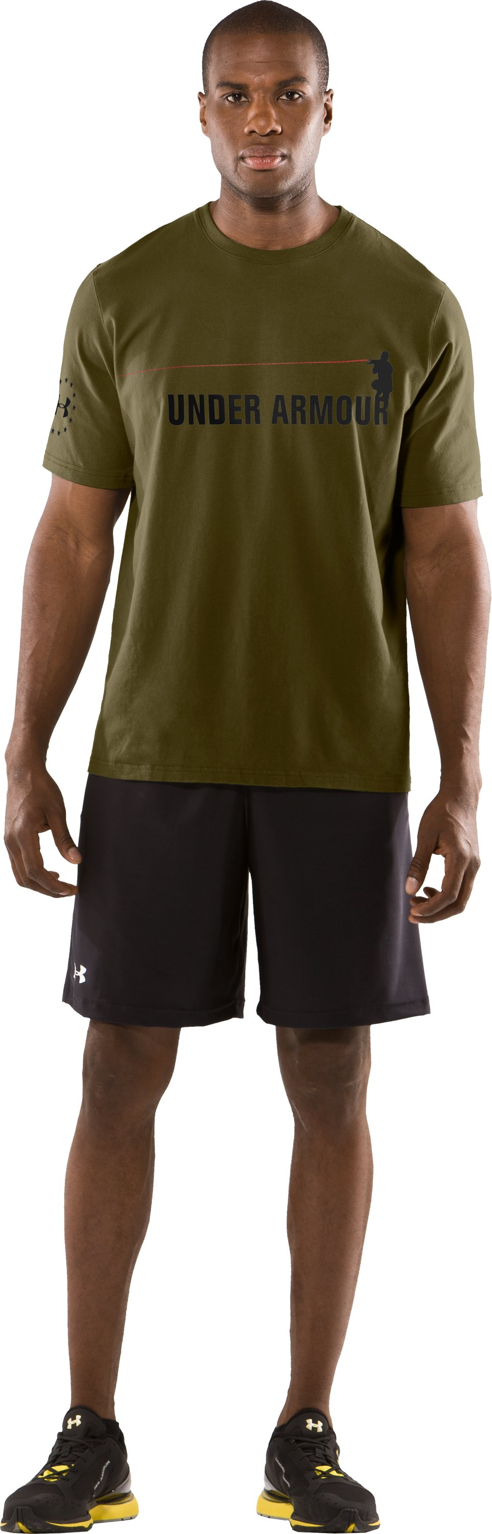 Men's UA Laser Sight Short Sleeve T-Shirt, Marine OD Green, Front