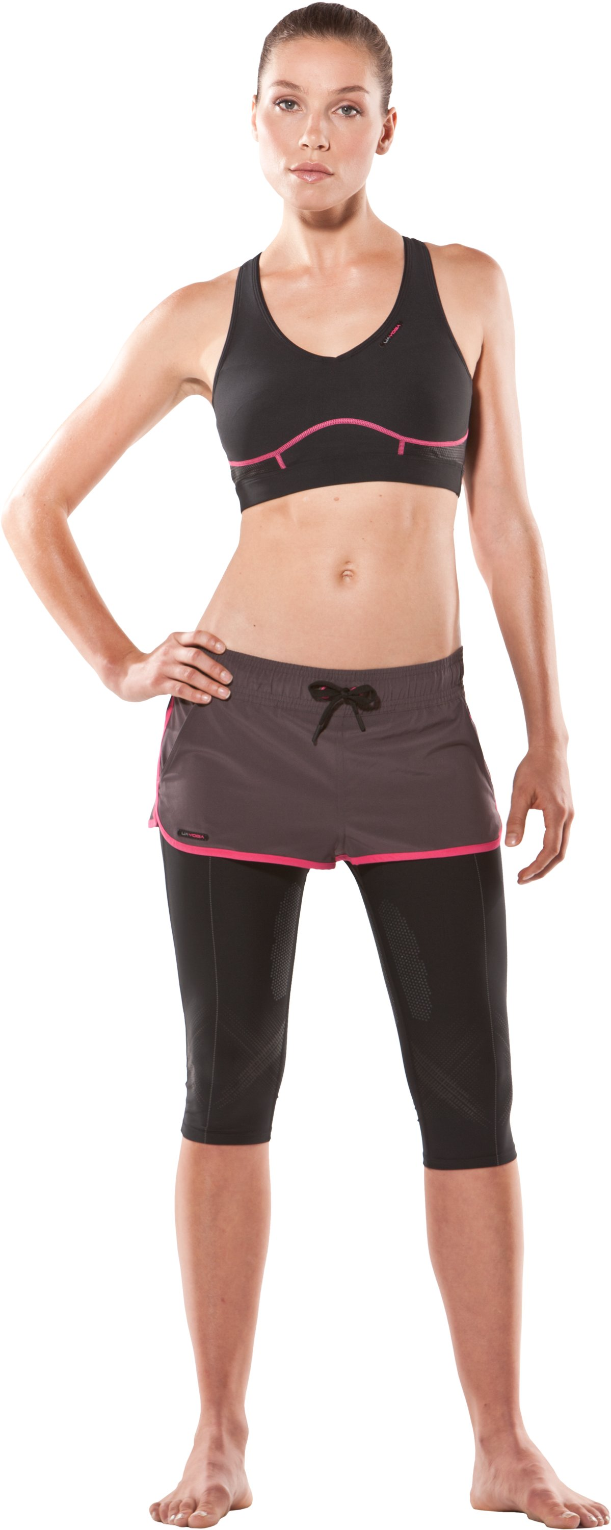 Women's Cobra Yoga Sports Bra, Black , Front