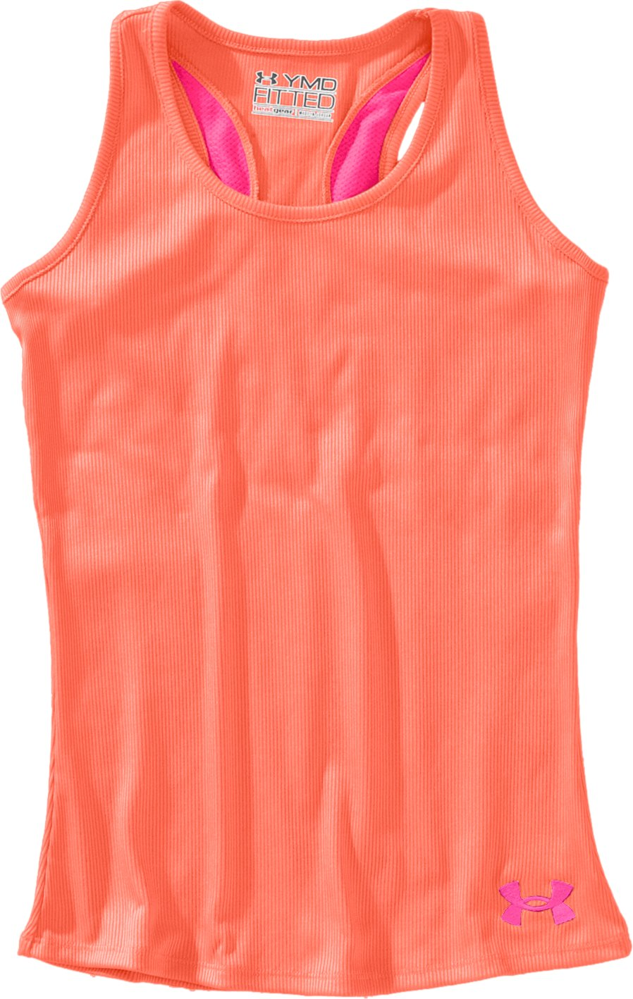 Girls' Victory Tank Top, ELECTRIC TANGERINE, Laydown