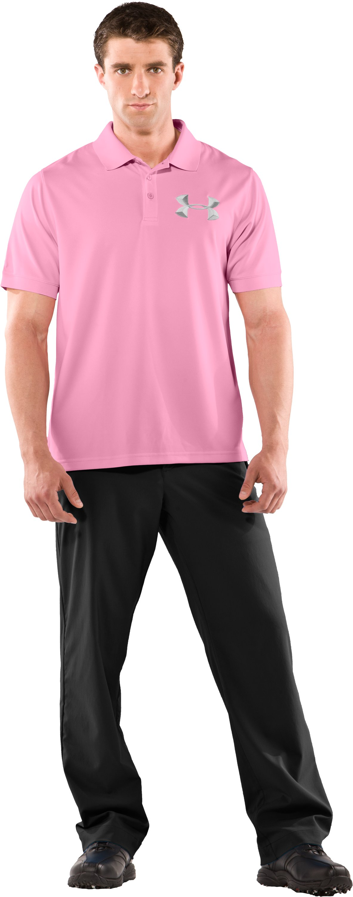 Power In Pink® UA Exploded Logo Polo Shirt, True Pink, Front
