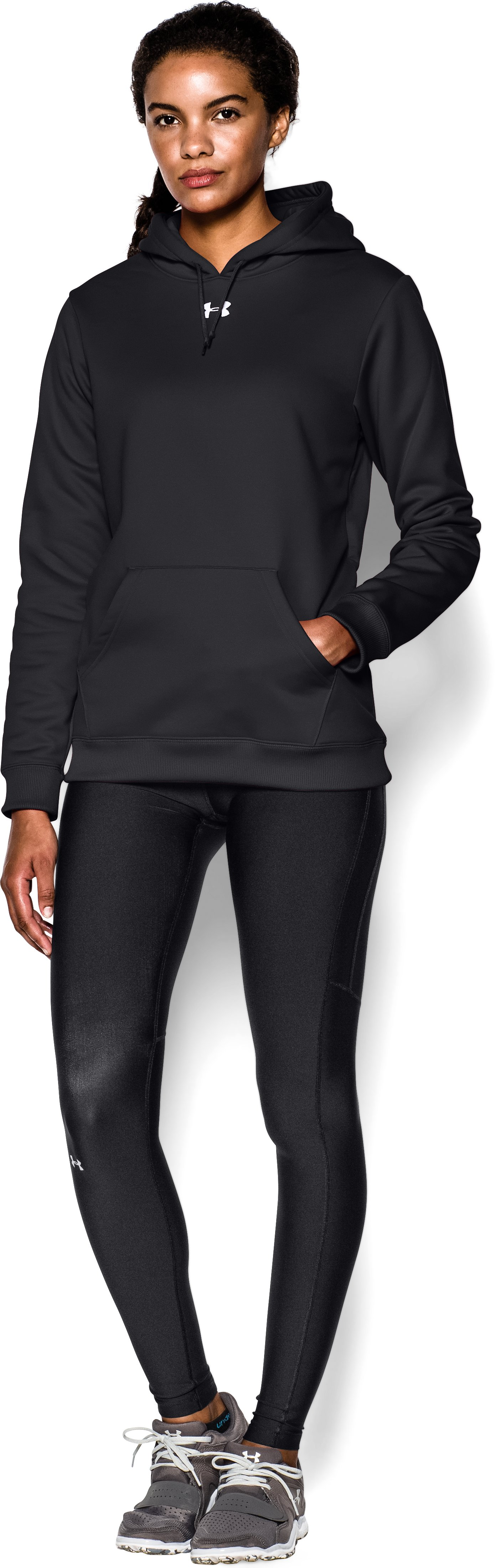 Women's Armour® Fleece Team Hoodie, Black , Front