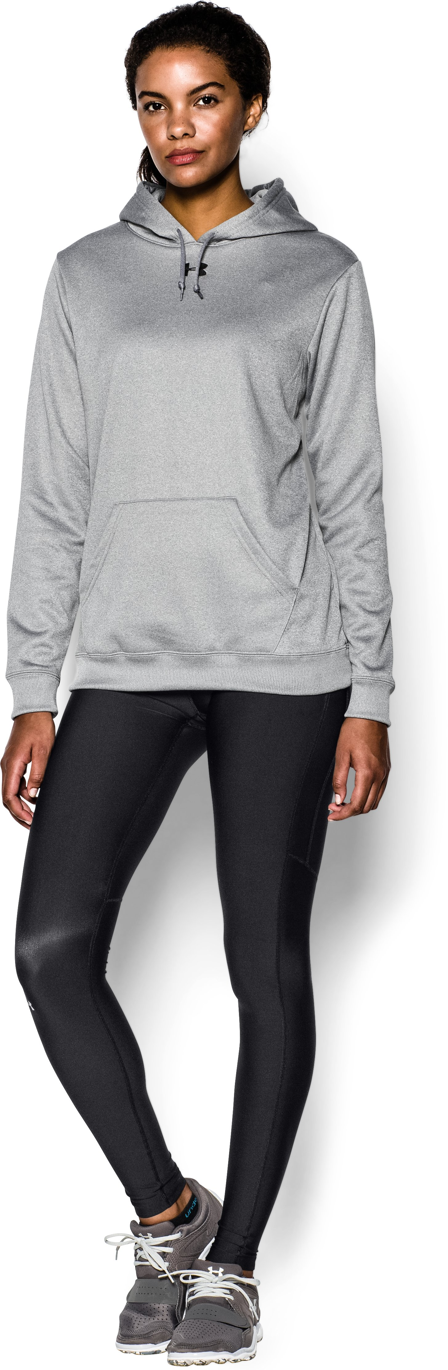 Women's Armour® Fleece Team Hoodie, True Gray Heather, zoomed image
