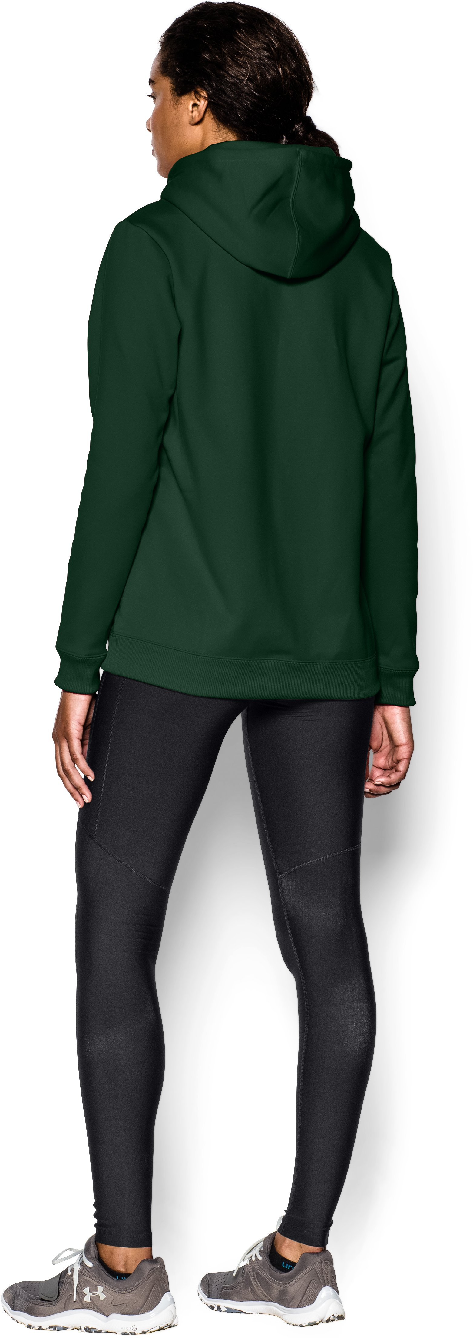 Women's  Armour Fleece® Team Hoodie, Forest Green, Back