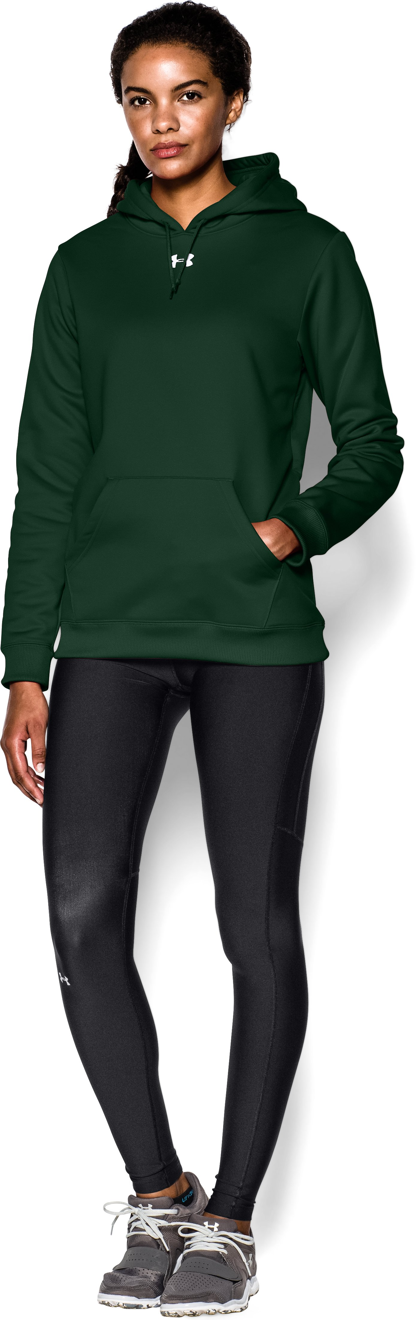 Women's Armour® Fleece Team Hoodie, Forest Green, Front