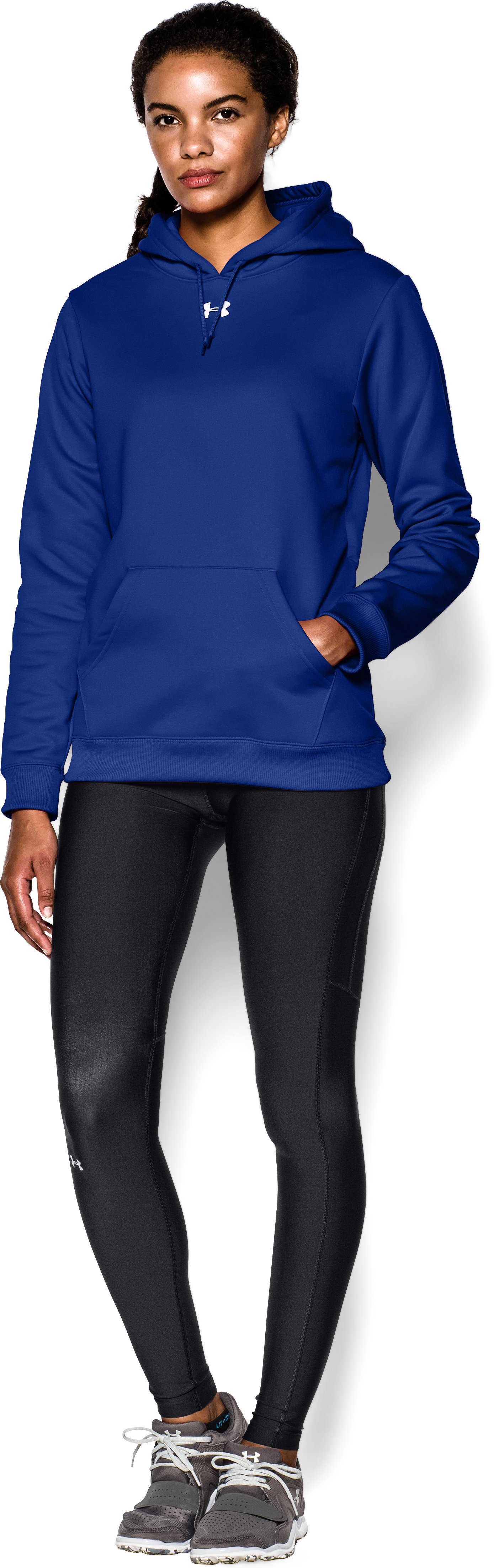 Women's Armour® Fleece Team Hoodie, Royal, zoomed image