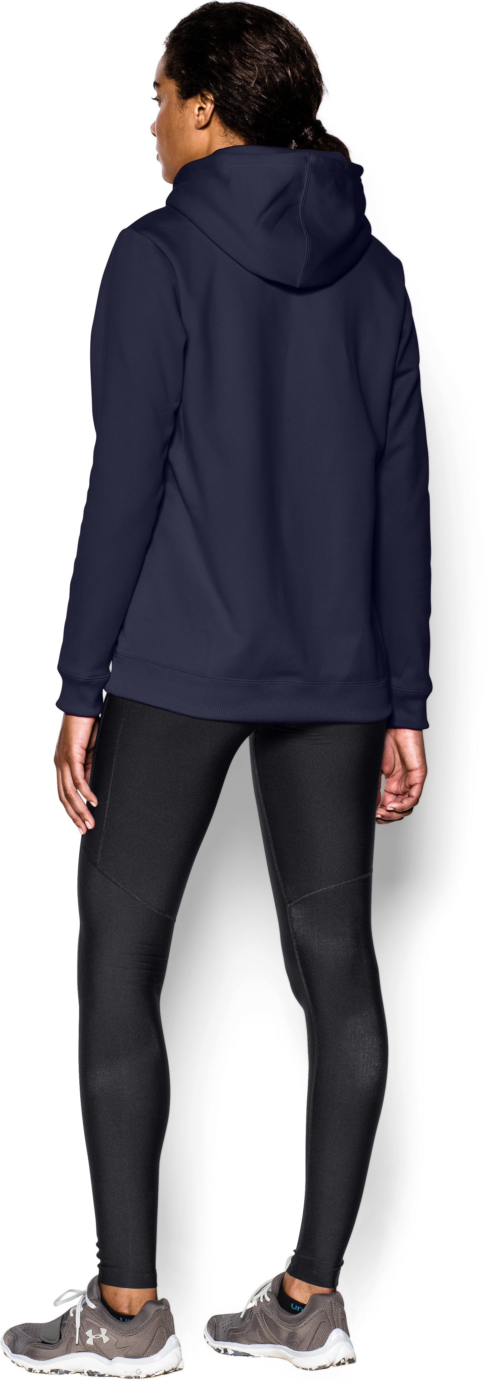 Women's Armour® Fleece Team Hoodie, Midnight Navy, Back