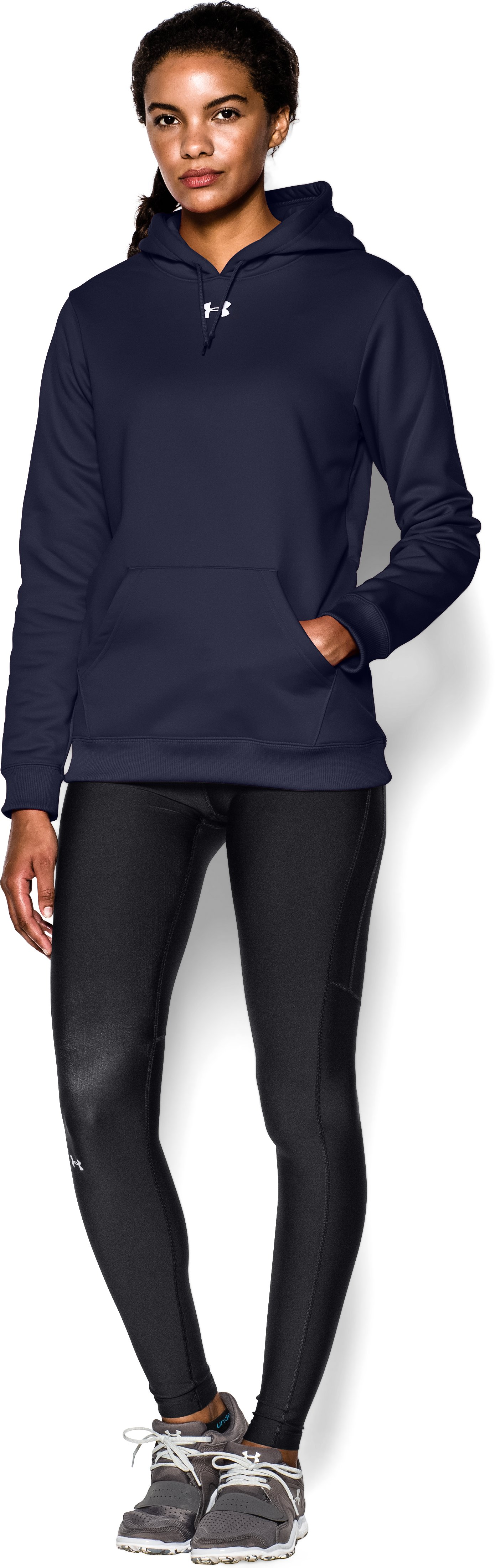 Women's Armour® Fleece Team Hoodie, Midnight Navy, Front