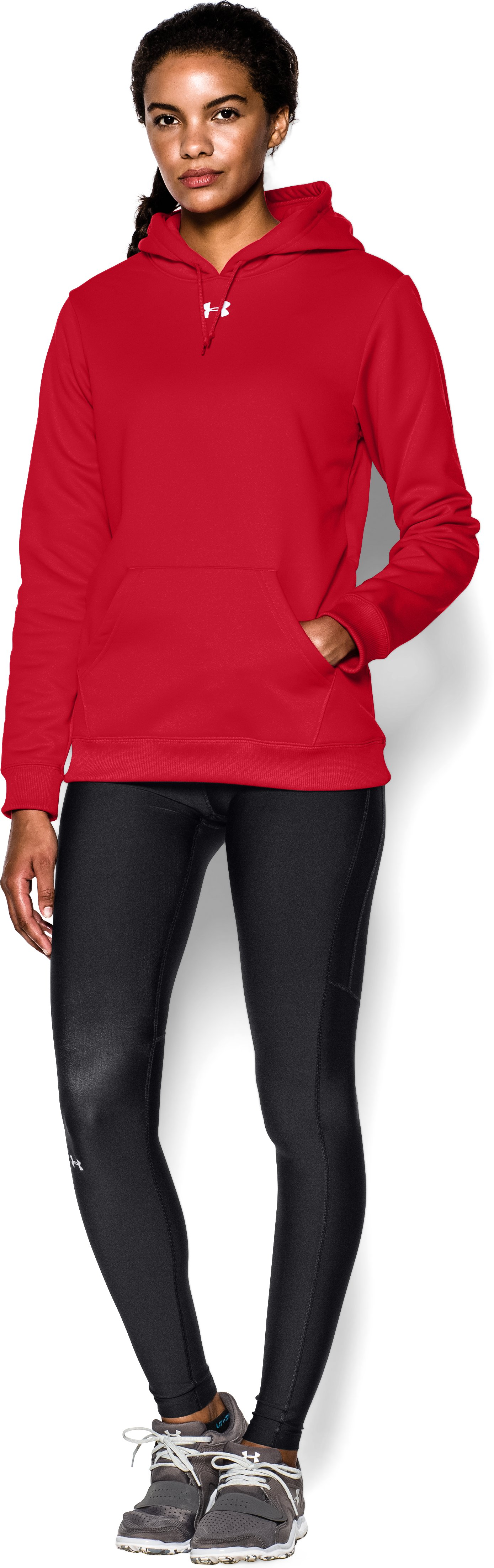 Women's Armour® Fleece Team Hoodie, Red, zoomed image