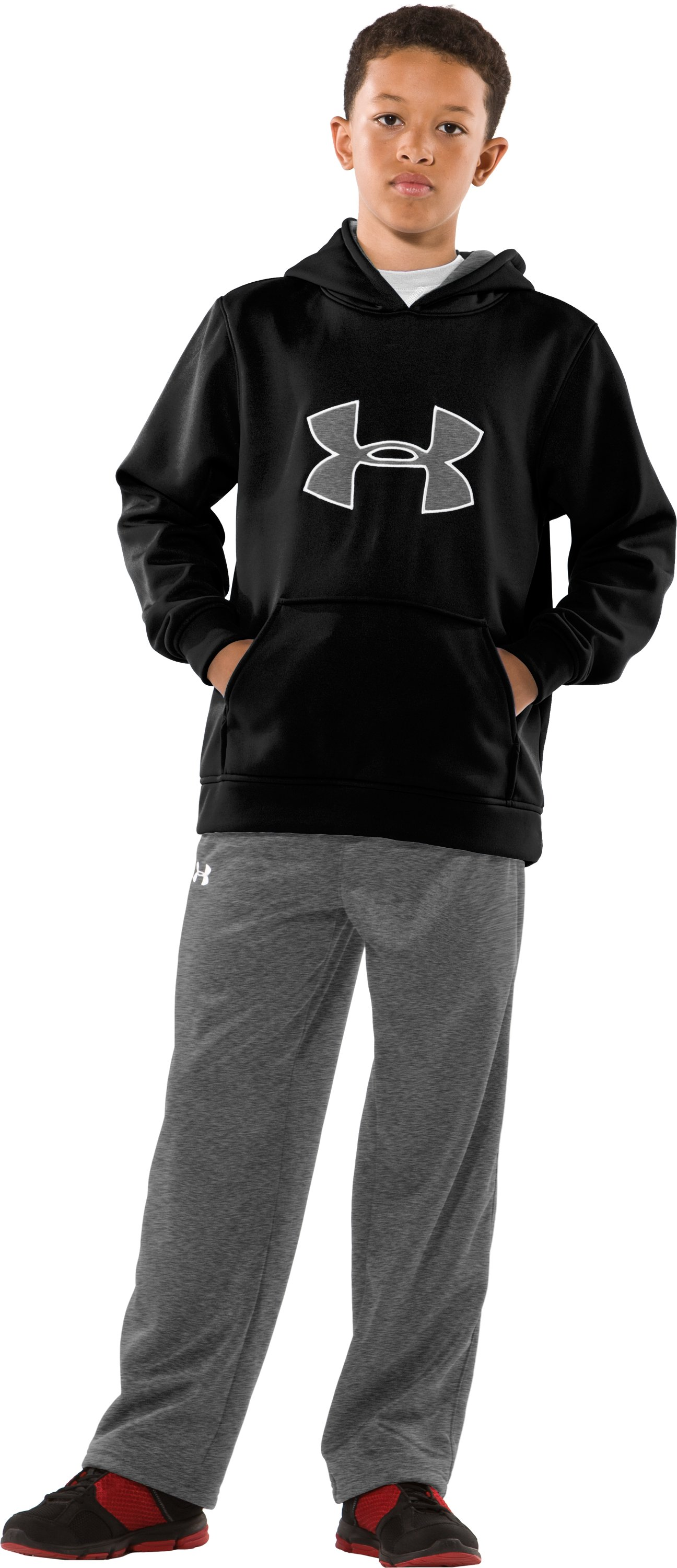 Boys' Armour® Fleece Big Logo Pullover Hoodie, Black , zoomed image