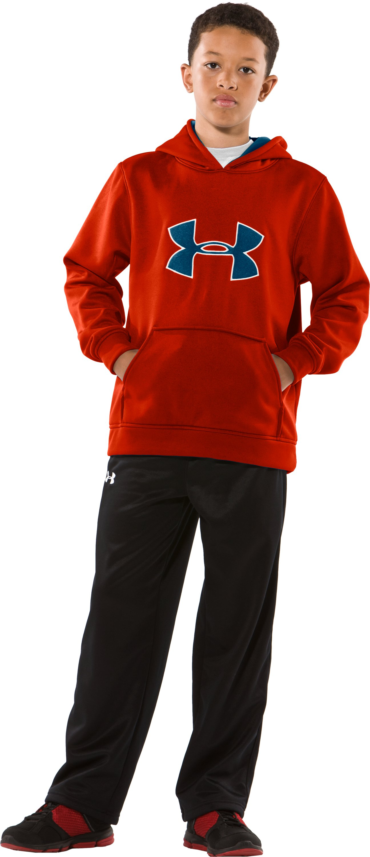 Boys' Armour® Fleece Big Logo Pullover Hoodie, Explosive