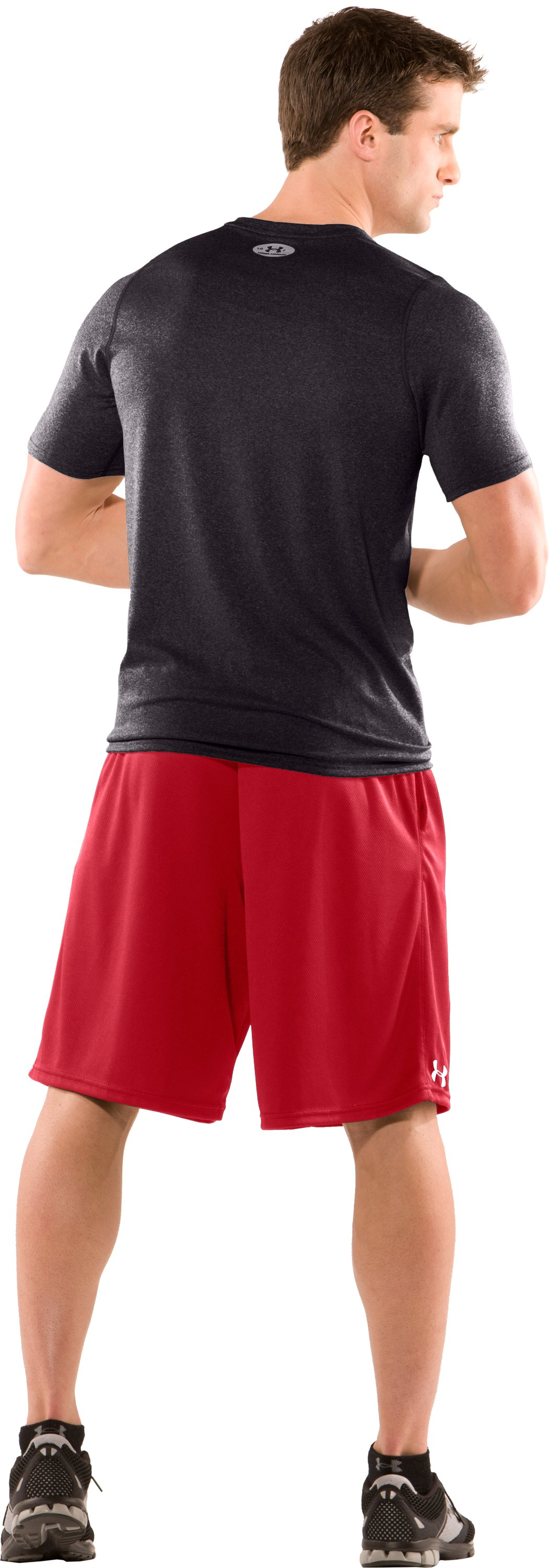 Men's HeatGear® Touch Fitted Short Sleeve V-Neck T-Shirt, Carbon Heather, Back